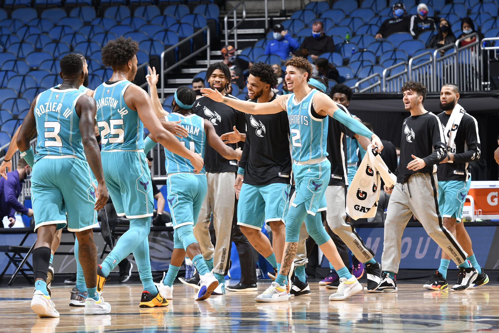 Ball and Hornets celebrate