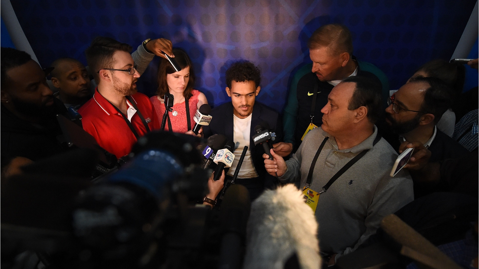 Trae Young meets with the media after the 2018 NBA Draft Combine