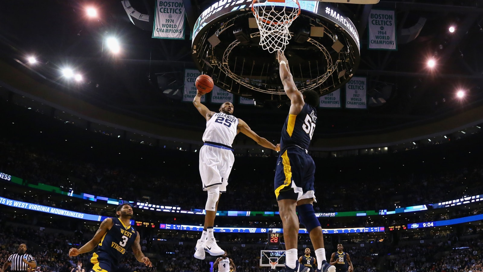 Mikal Bridges goes for the dunk against West Virginia