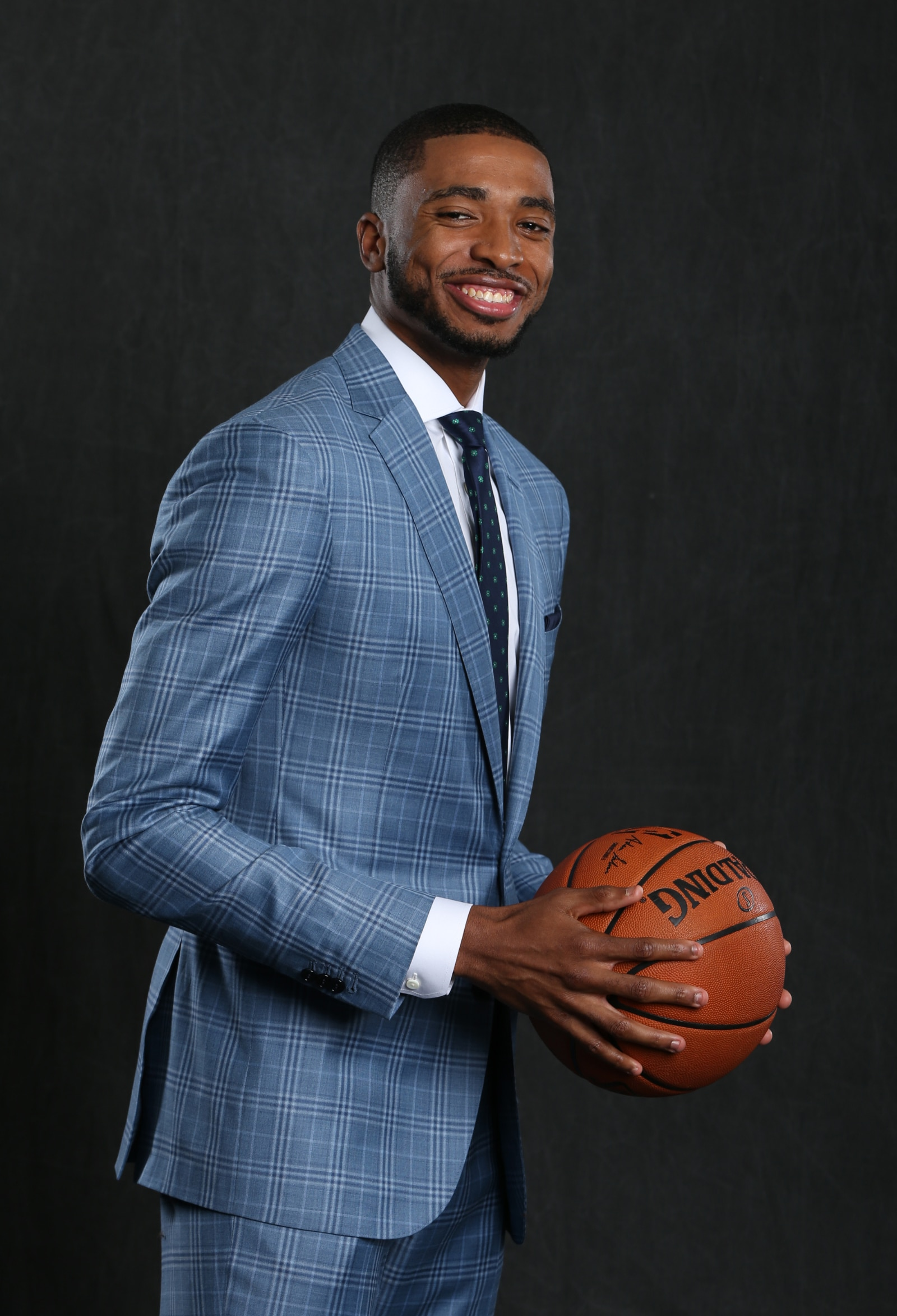 Mikal Bridges poses at the NBA Draft Lottery