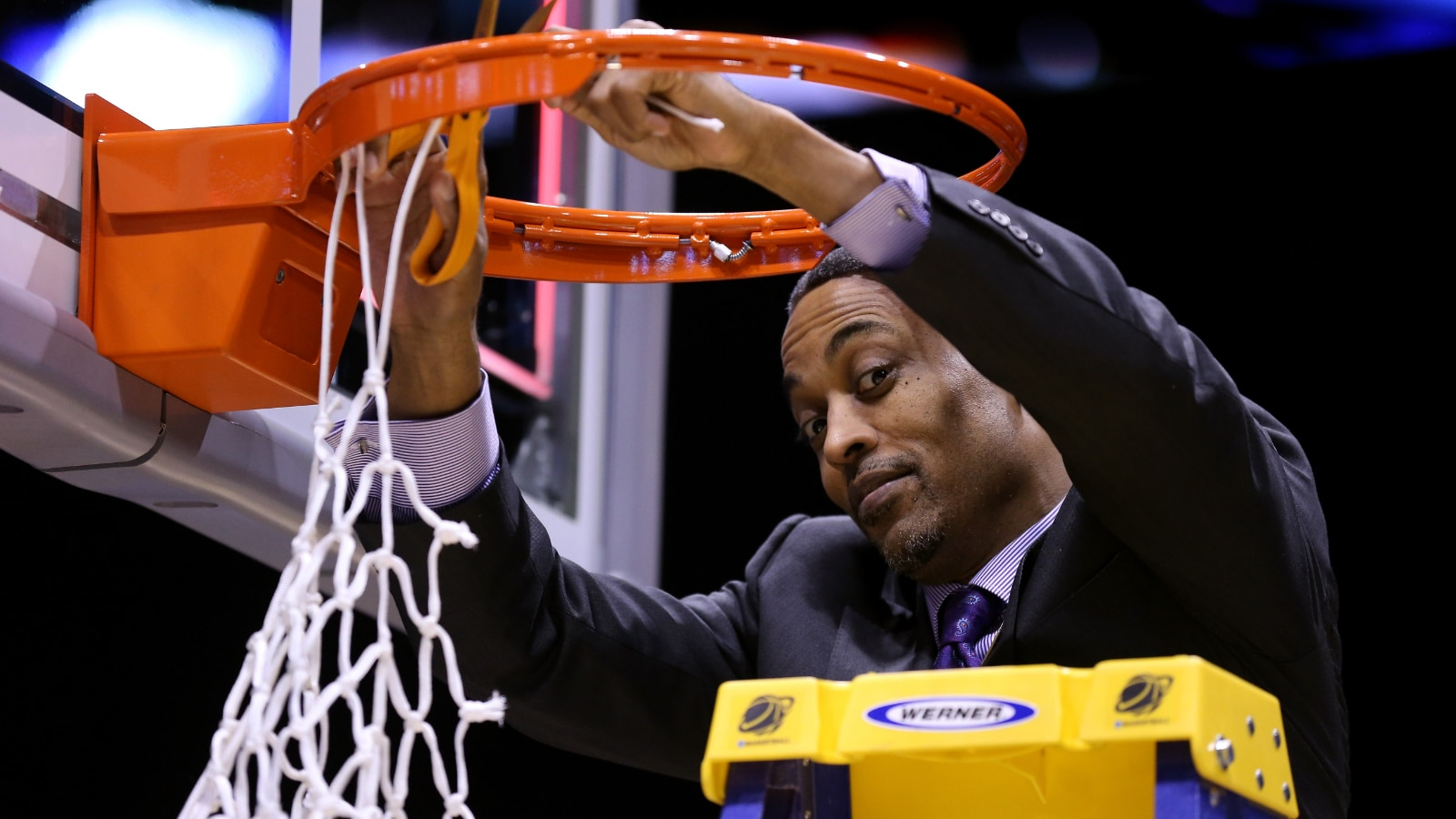 Rod Strickland cuts down the nets for Kentucky