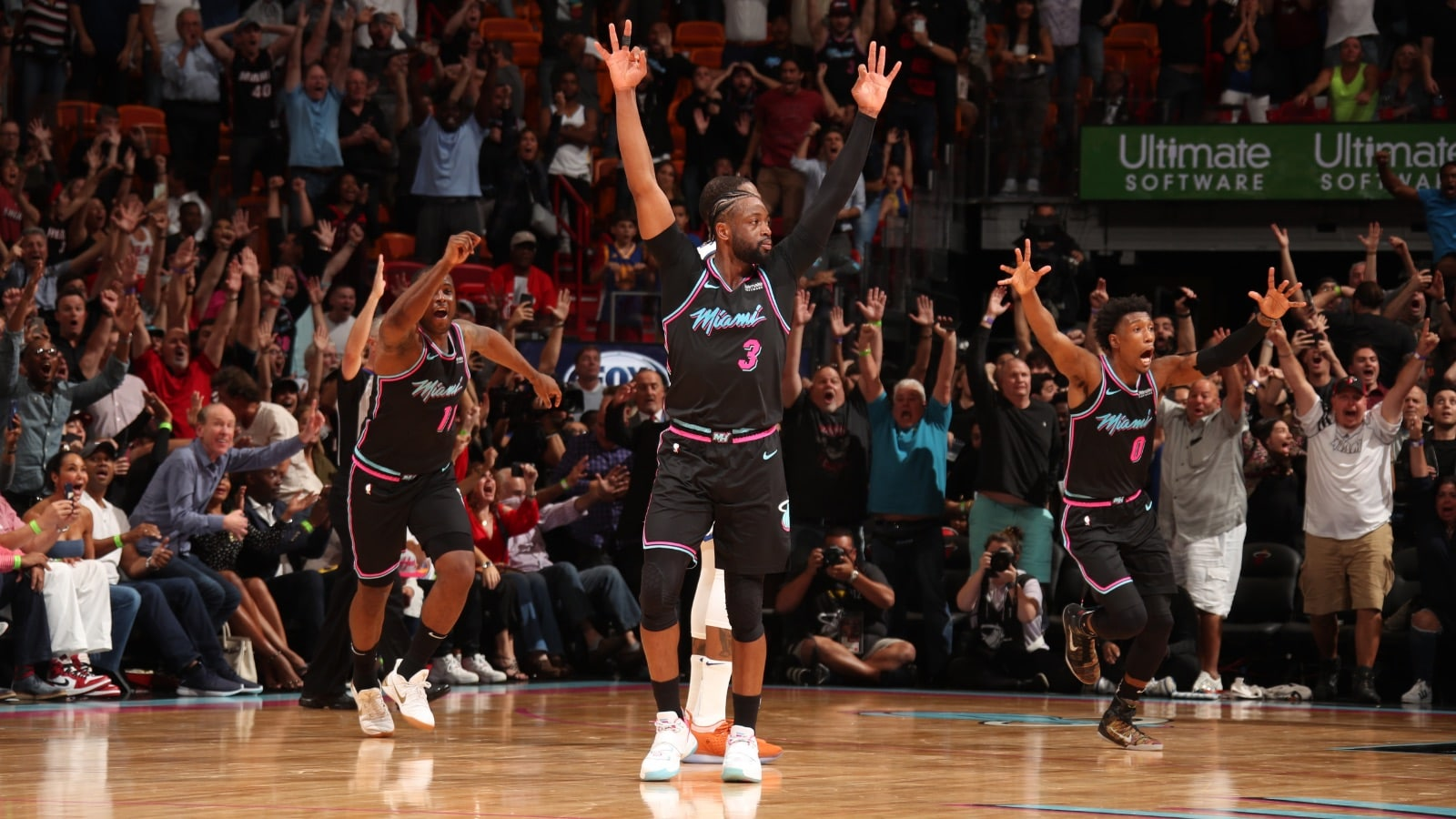 Dwyane Wade celebrates after a game-winning shot