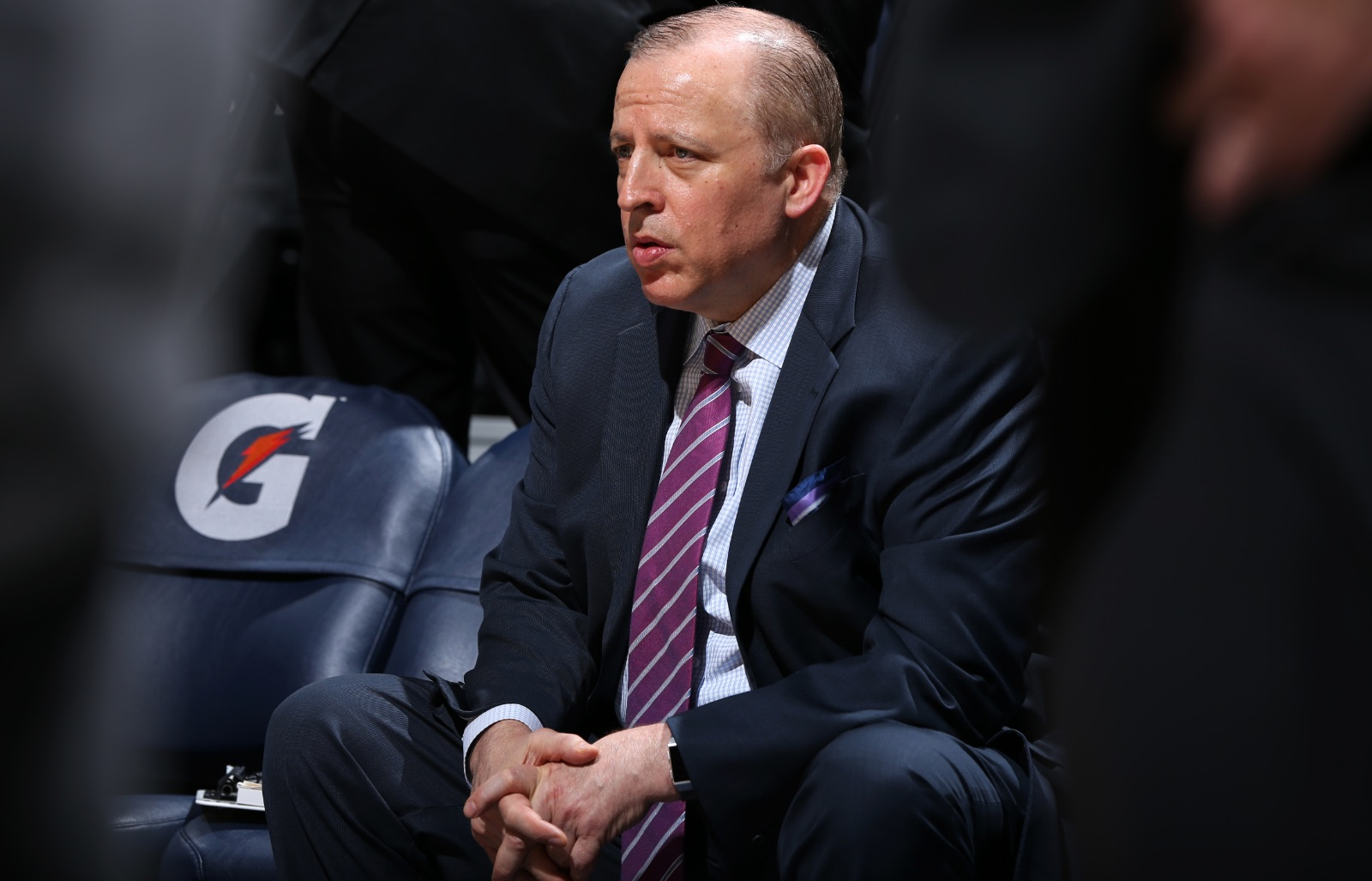 Tom Thibodeau sits on the bench