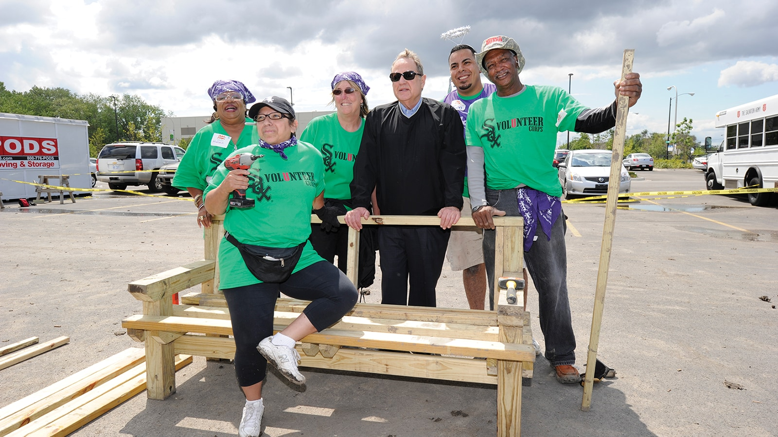 Jerry Reinsdorf joined more than 200 Volunteer Corps members during a 2012 KaBOOM! playground build in Chicago's West Pullman neighborhood. The White Sox Volunteer Corps has engaged more than 5,000 fans and served nearly 48,000 hours in the community in the last 10 years.