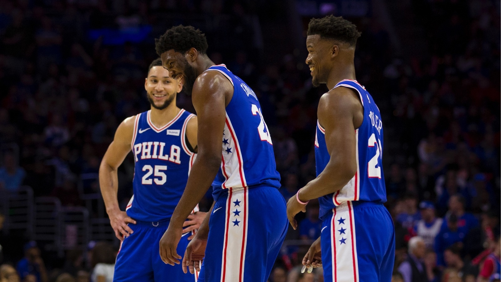 Ben Simmons, Joel Embiid, and Jimmy Butler of the 76ers