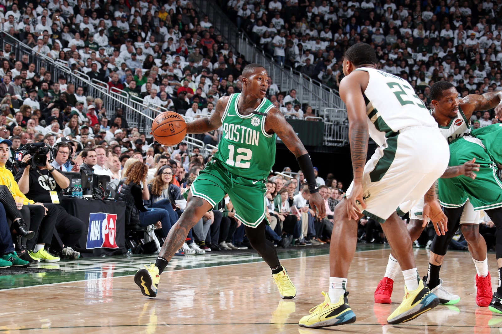 Terry Rozier #12 of the Boston Celtics handles the ball against the Milwaukee Bucks during Game Two of the Eastern Conference Semi Finals