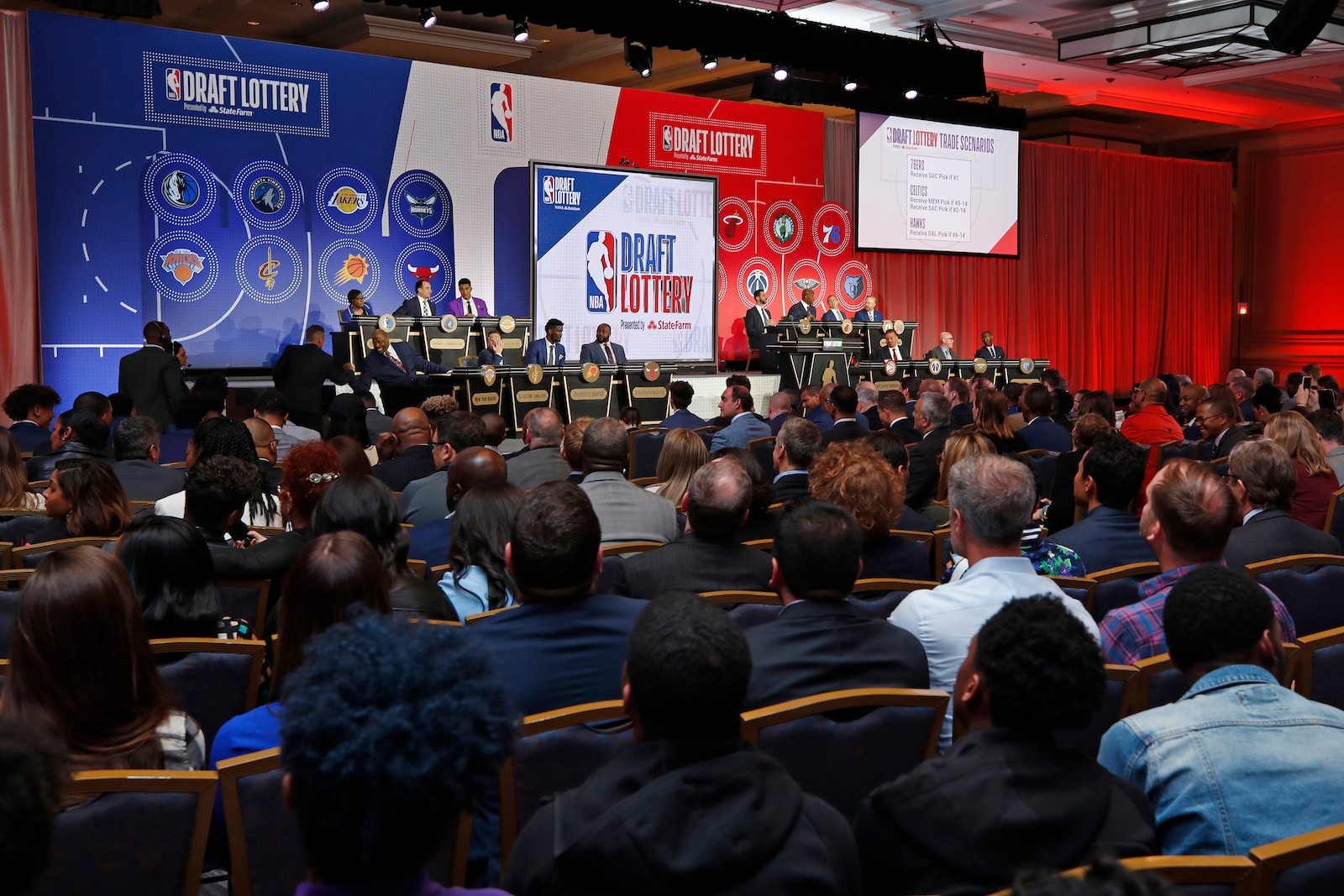An overall view of the stage at the 2019 NBA Draft Lottery on May 14, 2019 at the Chicago Hilton in Chicago, Illinois.