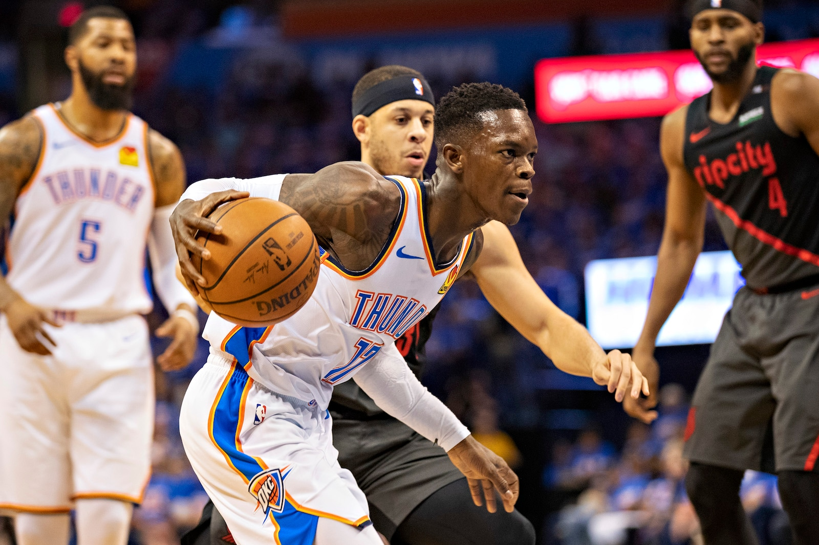 Dennis Schroder #17 of the Oklahoma City Thunder drives to the basket during a game against the Portland Trail Blazers