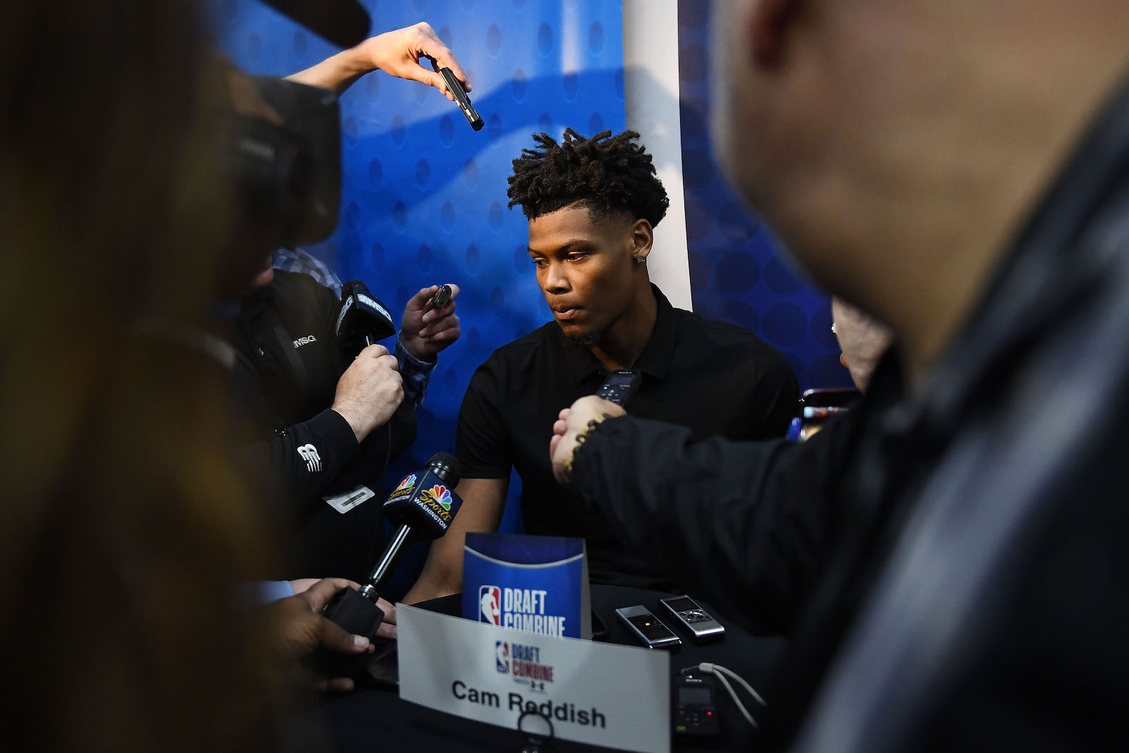 Cam Reddish speaks with the media during Day One of the NBA Draft Combine at Quest MultiSport Complex on May 16, 2019 in Chicago, Illinois.