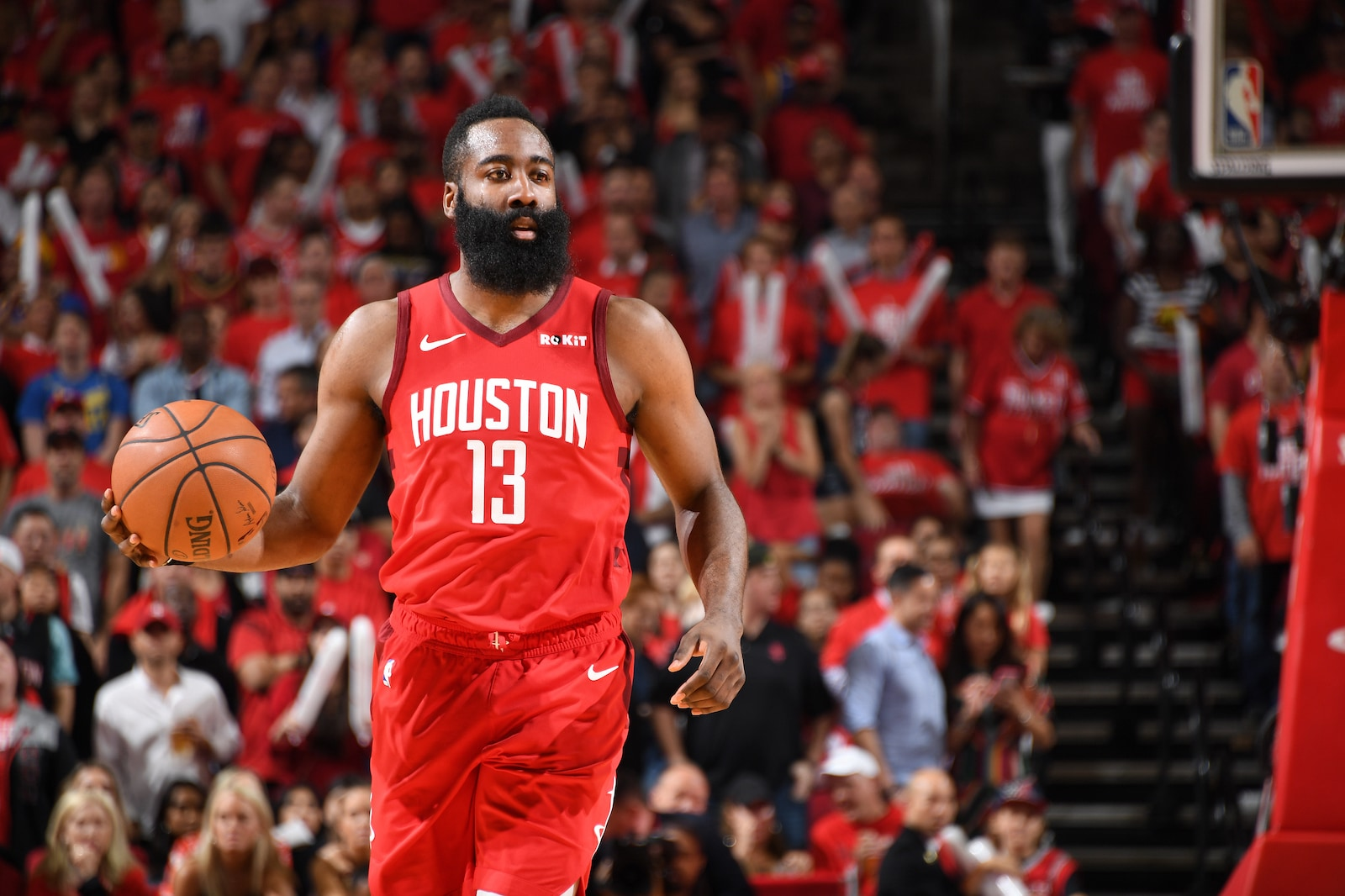 James Harden #13 of the Houston Rockets handles the ball against the Golden State Warriors during Game Six of the Western Conference Semifinals of the 2019 NBA Playoffs on May 10, 2019 at the Toyota Center in Houston, Texas.