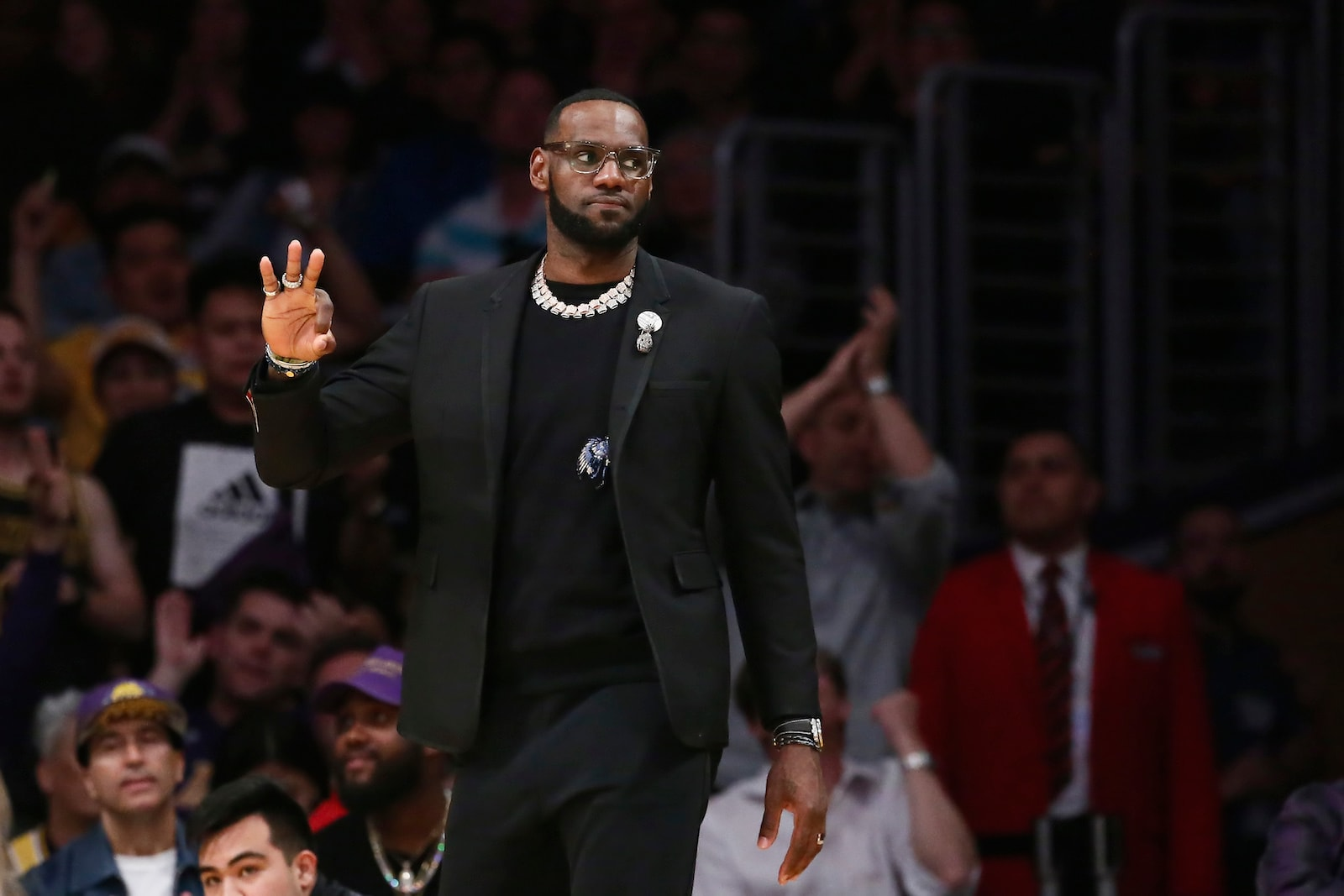 LeBron James #23 of the Los Angeles Lakers looks on against the Portland Trail Blazers on April 9, 2019 at STAPLES Center in Los Angeles, California