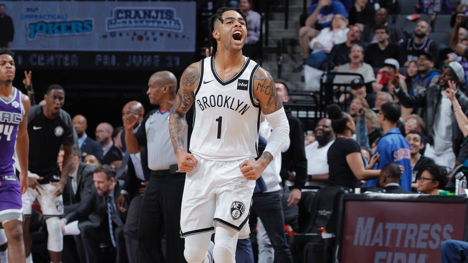 D'Angelo Russell #1 of the Brooklyn Nets reacts during the game against the Sacramento Kings on March 19, 2019 at Golden 1 Center in Sacramento, California.