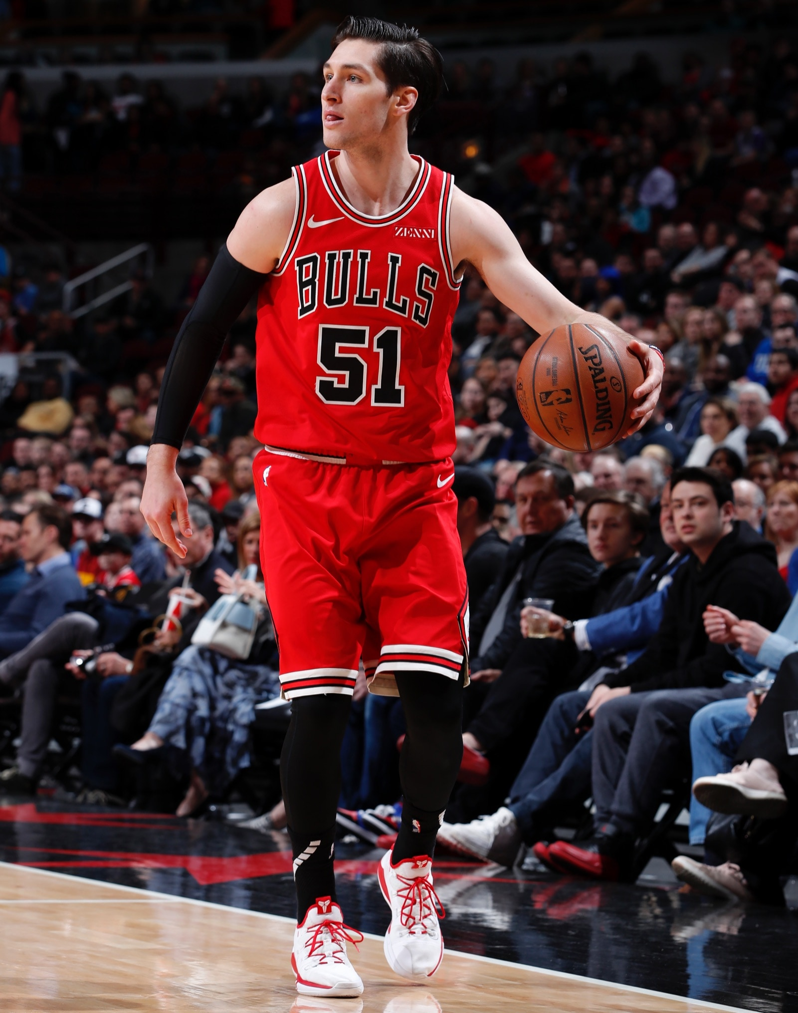 Ryan Arcidiacono #51 of the Chicago Bulls handles the ball against the Utah Jazz on March 23, 2019 at United Center in Chicago, Illinois.