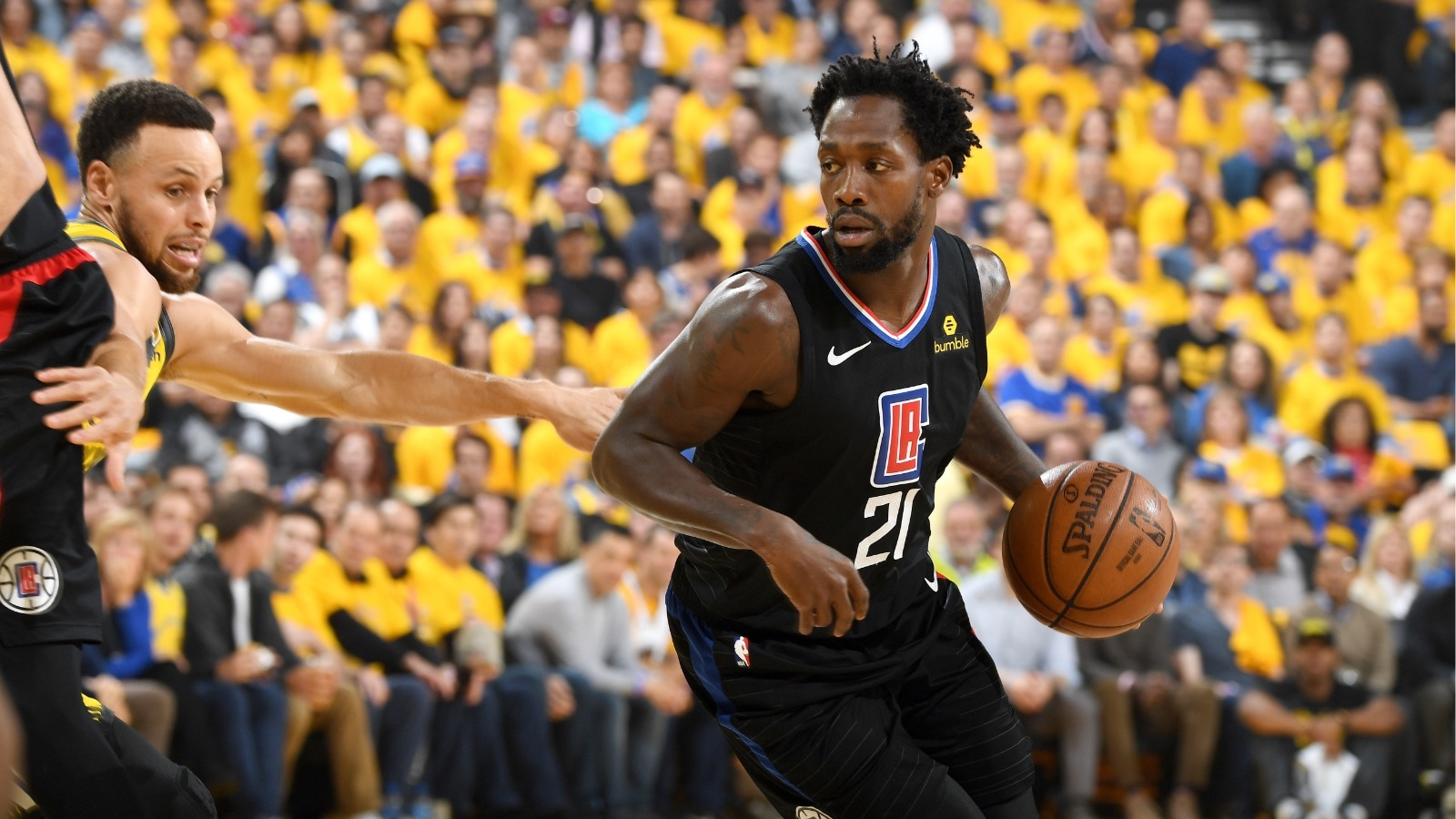 Patrick Beverley #21 of the LA Clippers handles the ball against the Golden State Warriors in Game Two of Round One during the 2019 NBA Playoffs on April 15, 2019 at ORACLE Arena in Oakland, California