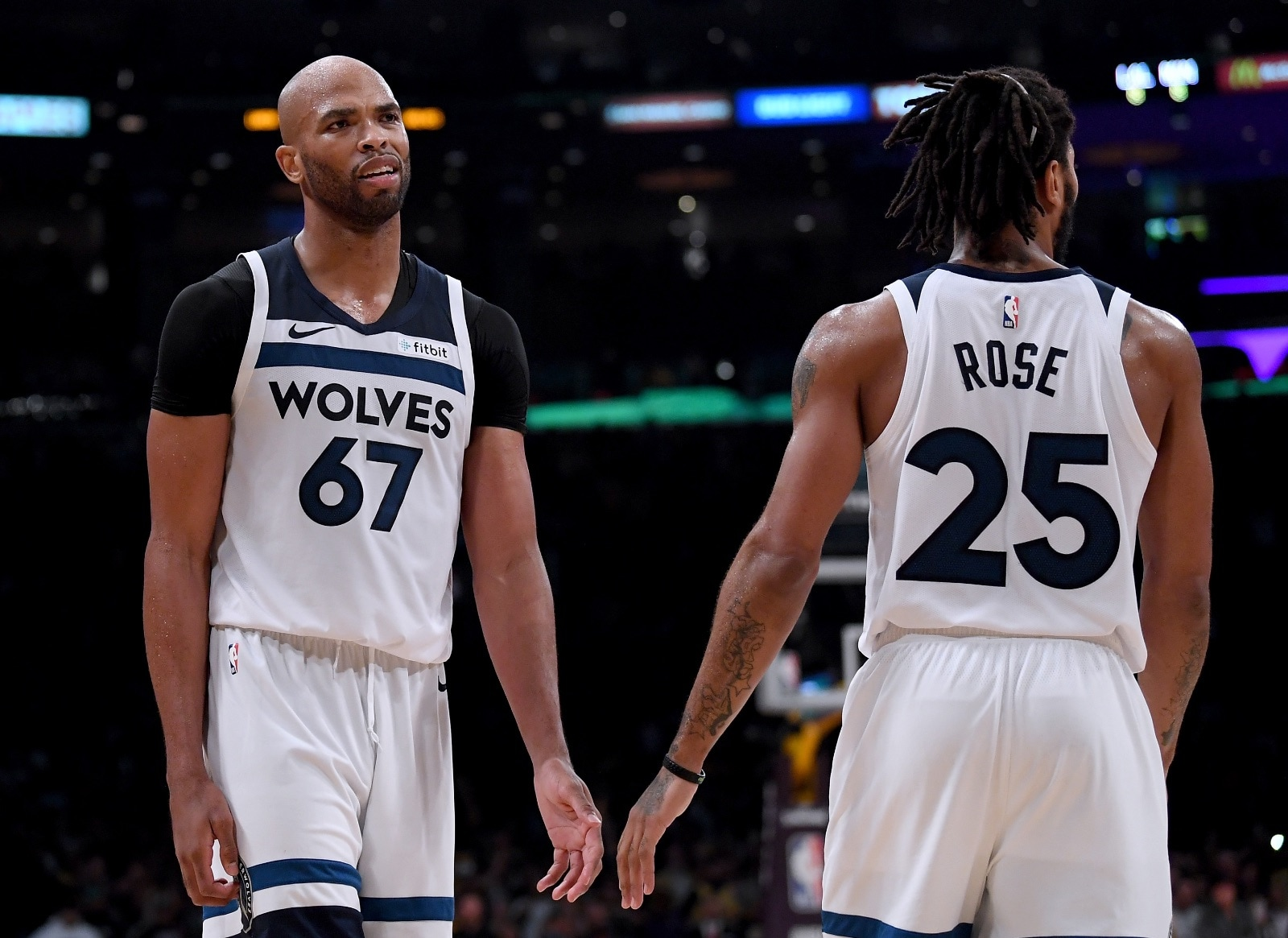 Taj Gibson #67 of the Minnesota Timberwolves reacts to his foul with Derrick Rose #25 during a 114-110 loss to the Los Angeles Lakers at Staples Center on November 7, 2018 in Los Angeles, California.
