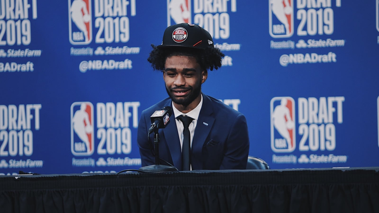 Coby White meets with the media after being selected 7th by the Chicago Bulls