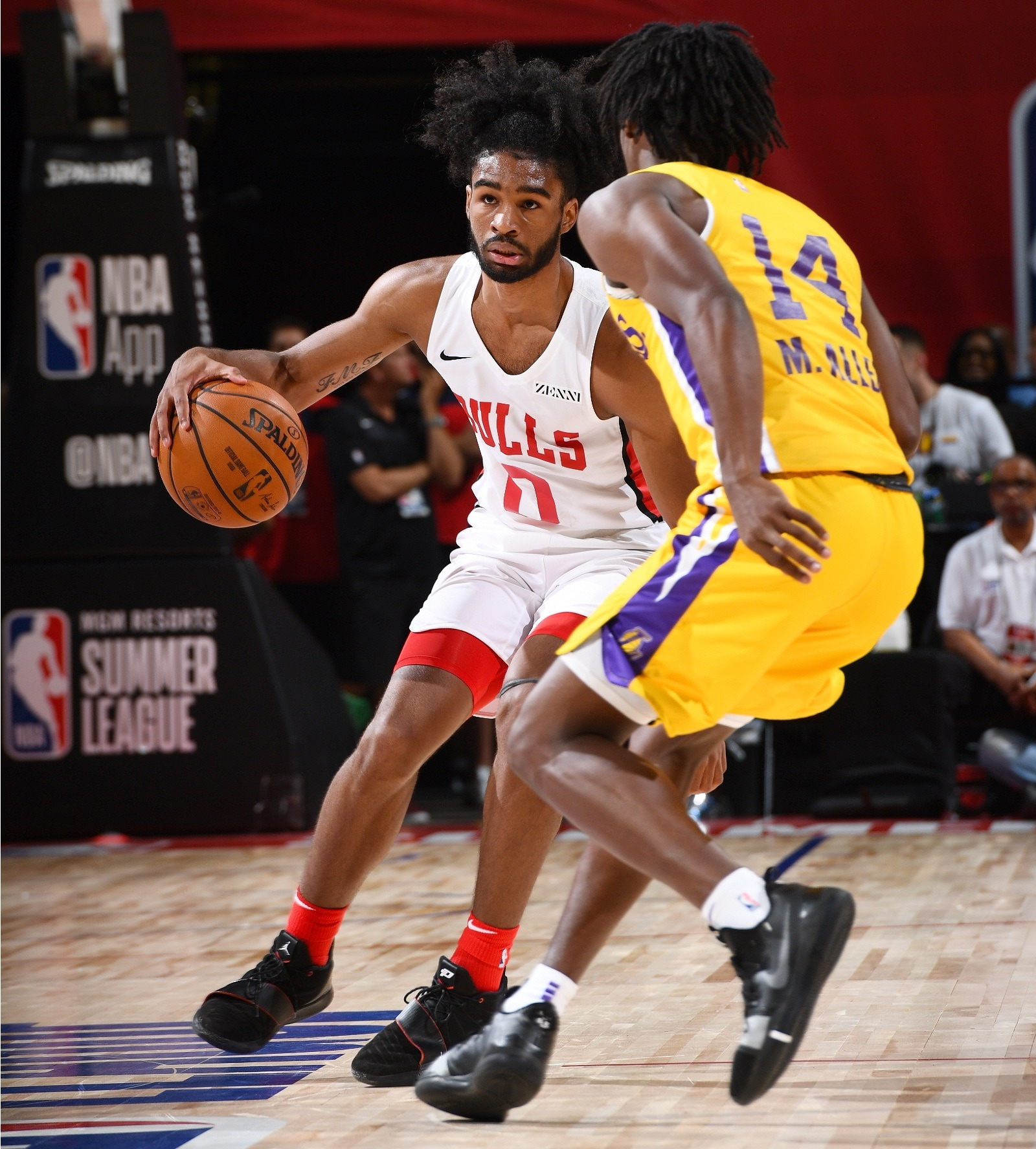 Coby White #0 of the Chicago Bulls dribbles the ball during the game against the Los Angeles Lakers during Day 1 of the 2019 Las Vegas Summer League on July 5, 2019 at the Thomas & Mack Center in Las Vegas, Nevada.