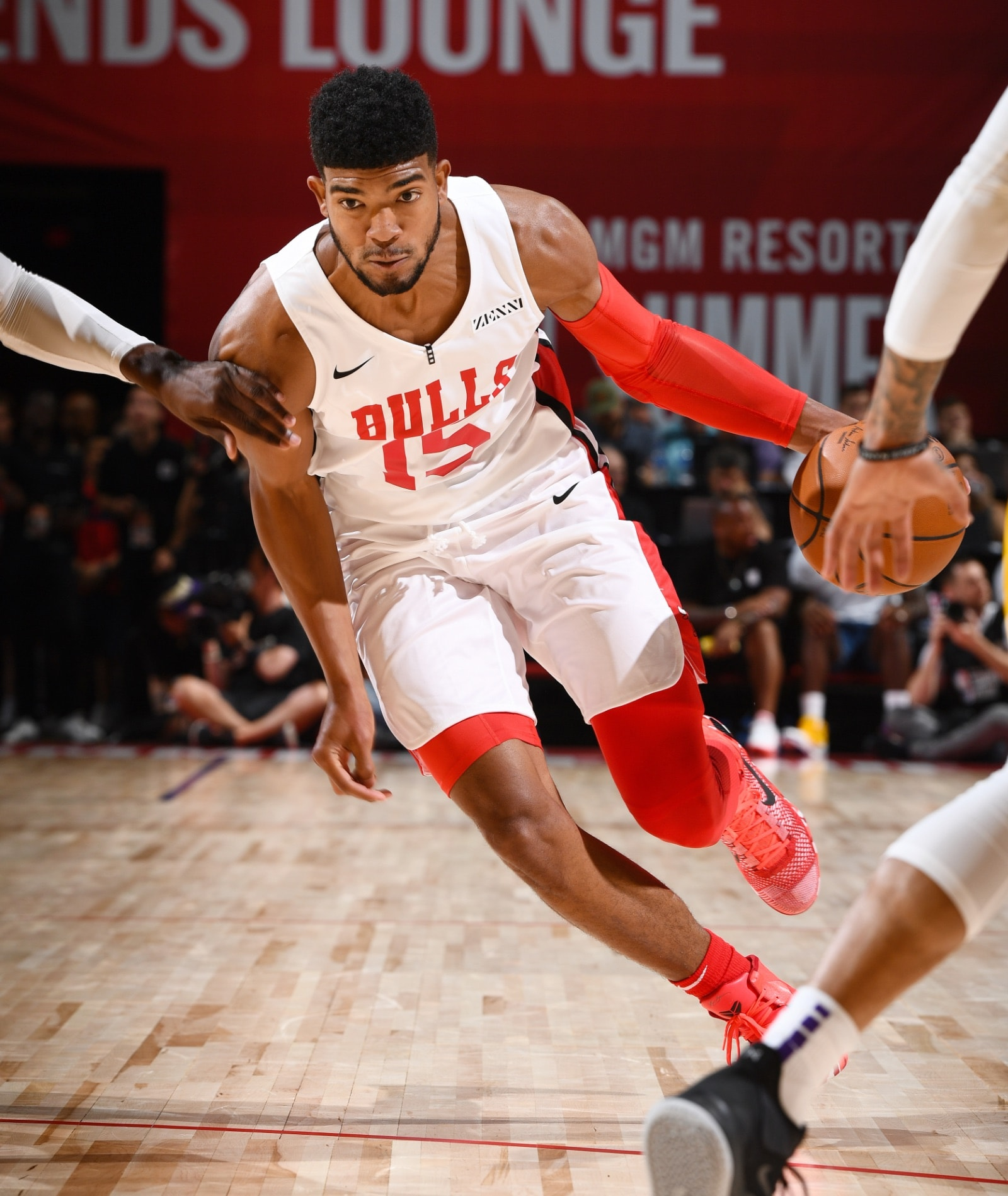 Chandler Hutchison #15 of the Chicago Bulls drives to the basket during the game against the Los Angeles Lakers during Day 1 of the 2019 Las Vegas Summer League on July 5, 2019 at the Thomas & Mack Center in Las Vegas, Nevada.