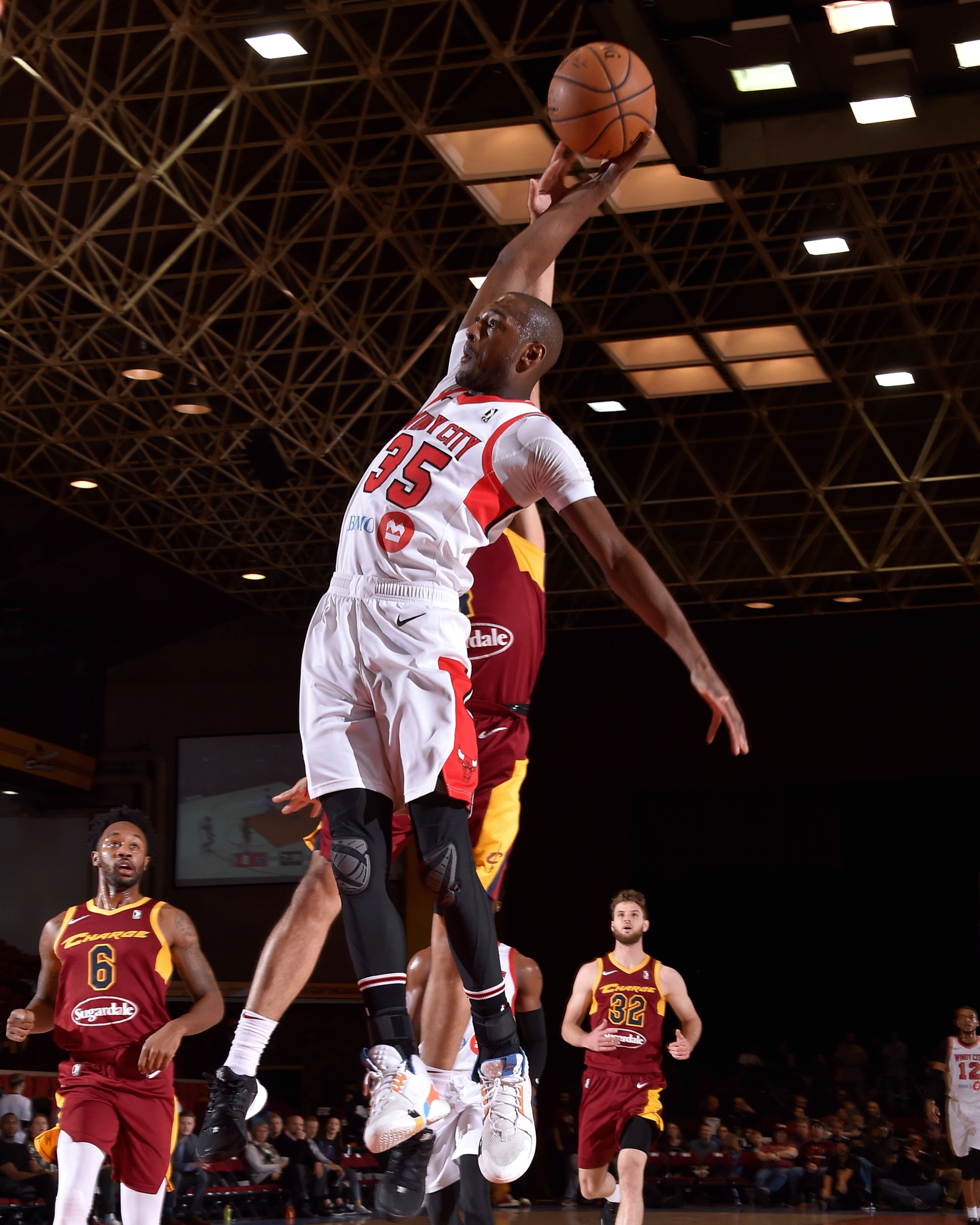 Milton Doyle attempts a dunk against the Canton Charge