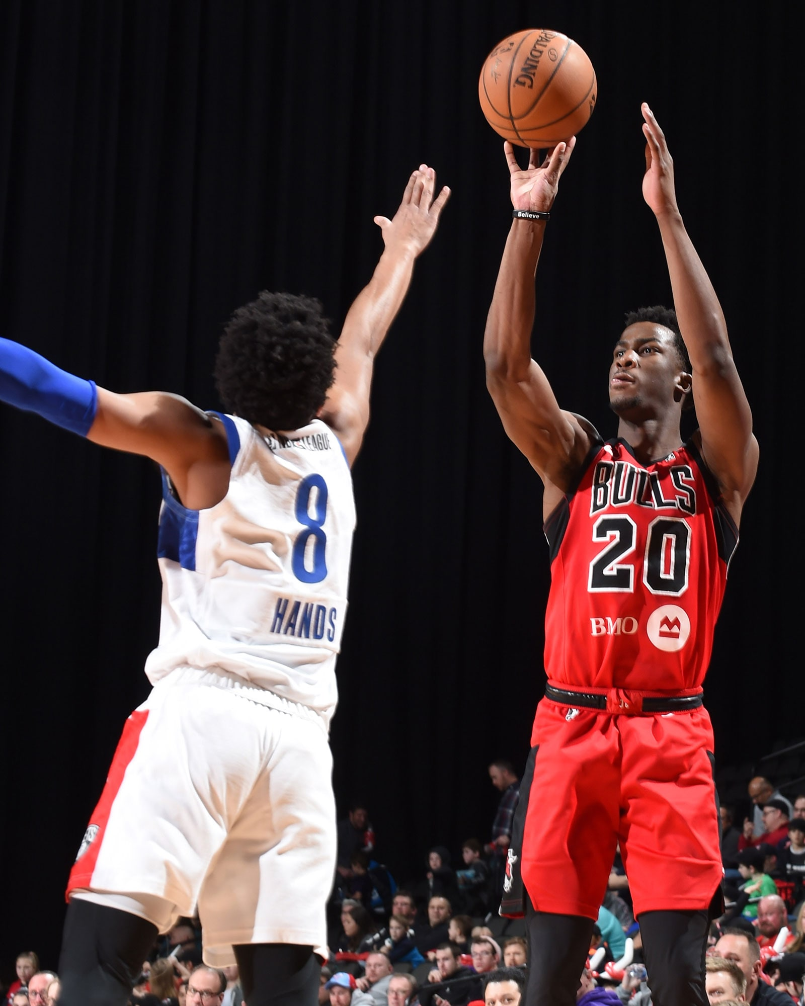 Adam Mokoka shoots the ball for the Windy City Bulls, the night following his 15 point performance against the Pelicans.