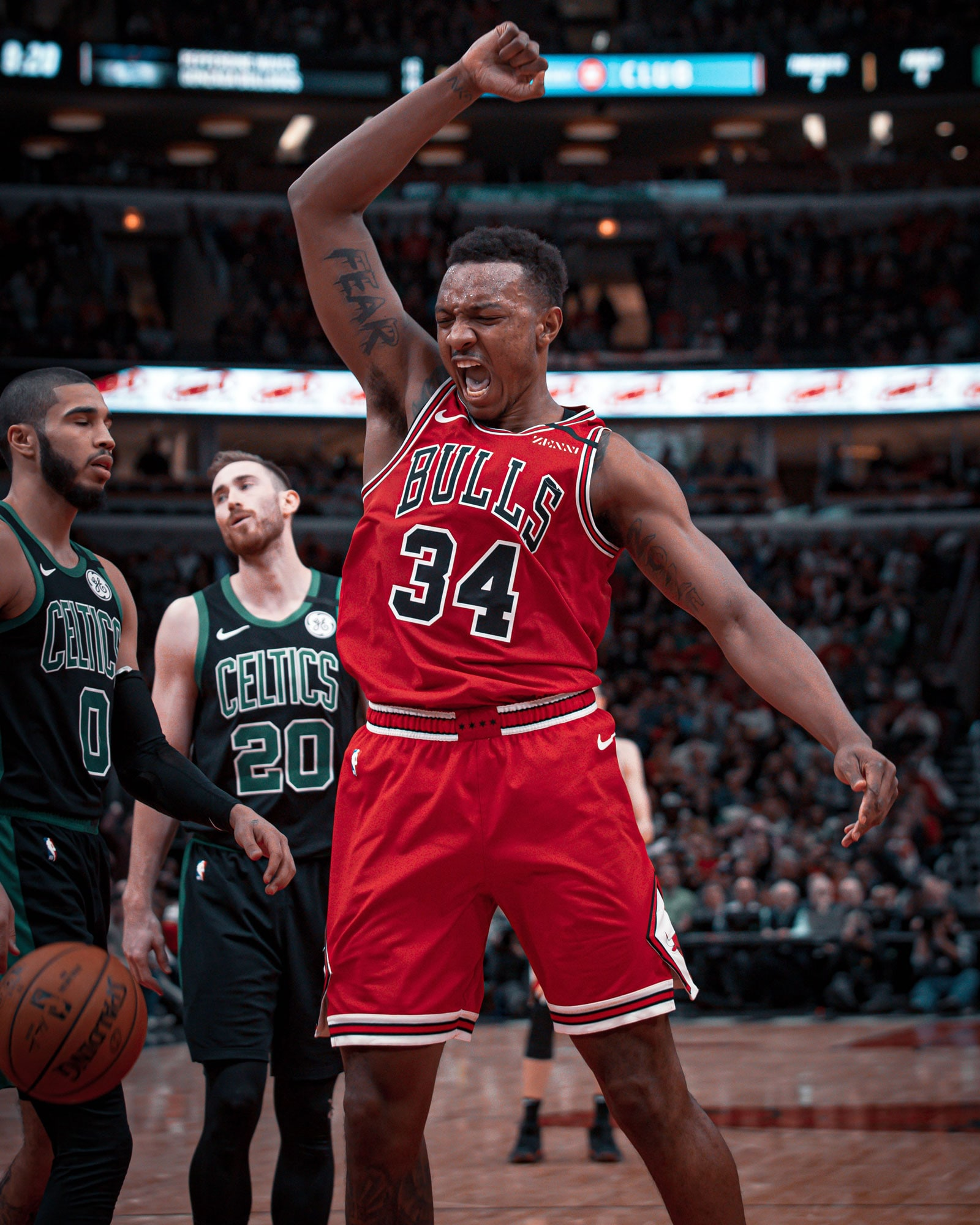 Wendell Carter Jr. gets excited after an And-1 opportunity against the Boston Celtics.