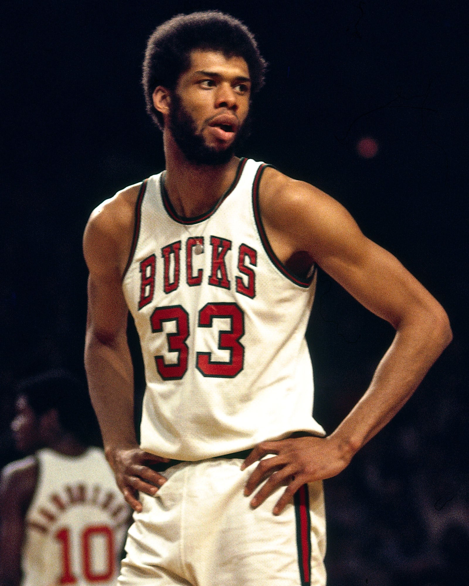 Kareem Abdul-Jabbar of the Milwaukee Bucks was excused from the game to prepare for he funeral of the people murdered in the attack on the building he owned in Washington, D.C.