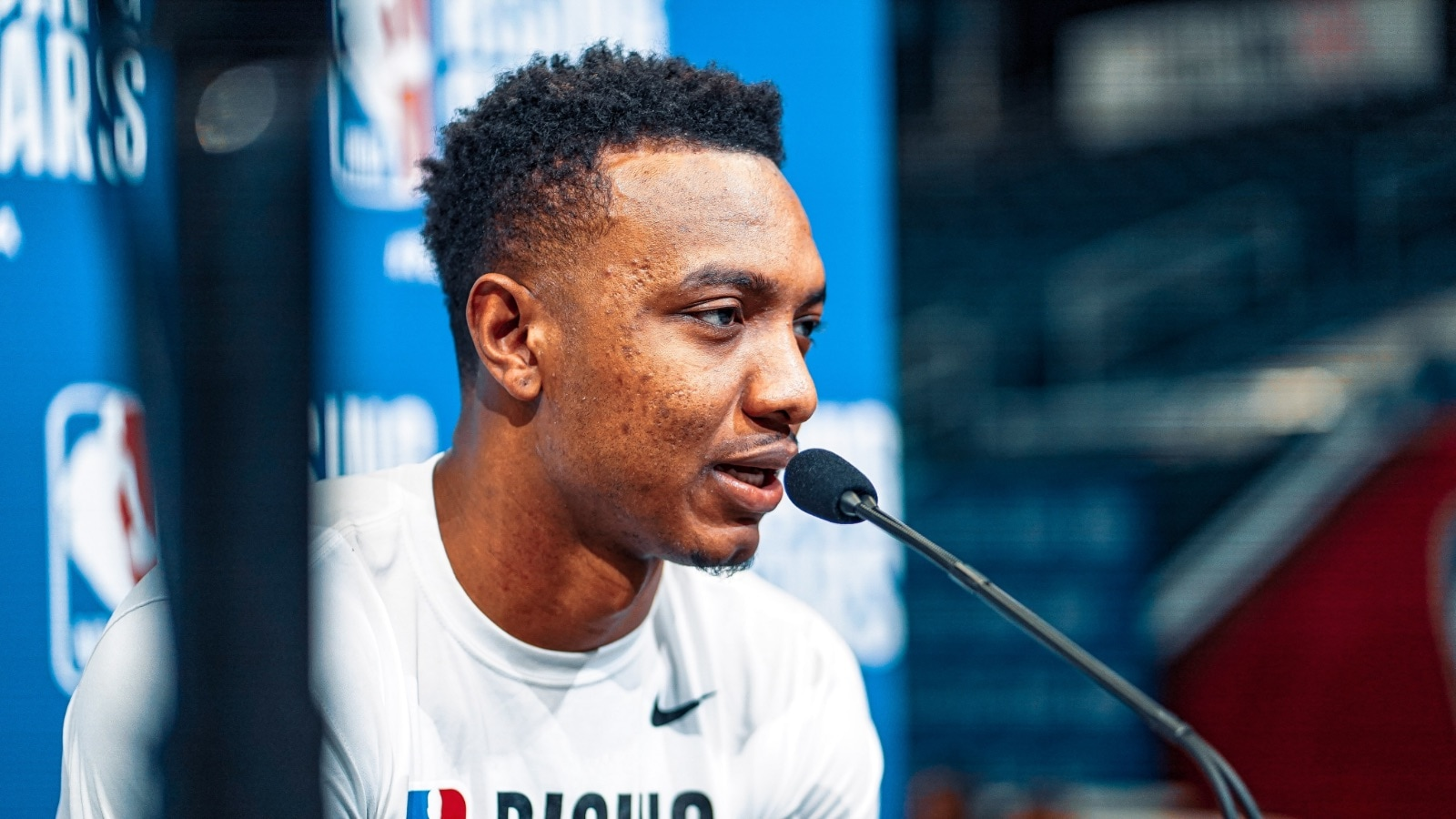 Wendell Carter Jr. meets with the media at Rising Stars practice
