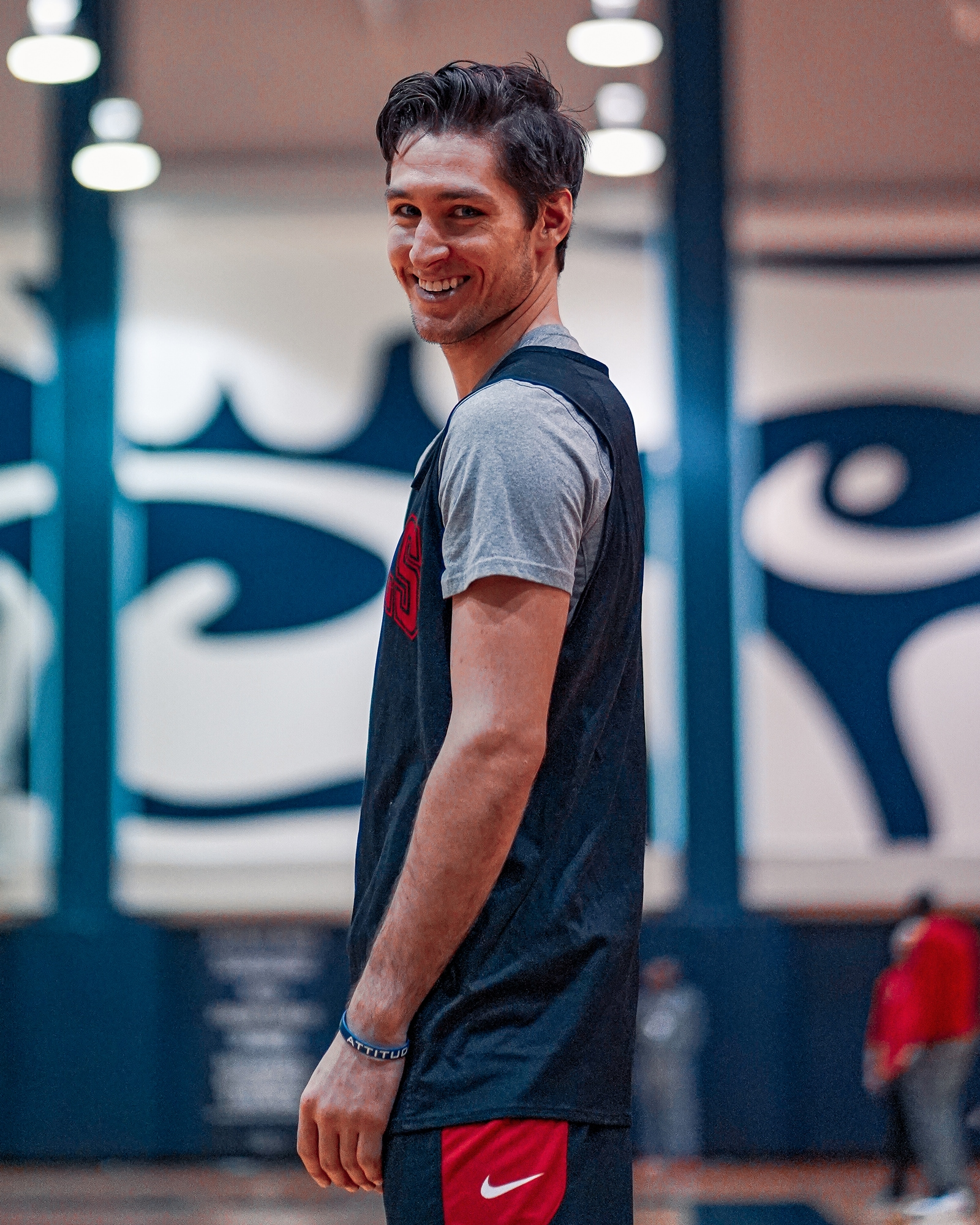 Arcidiacono smiles during a practice at Georgetown University before taking on the Wizards.