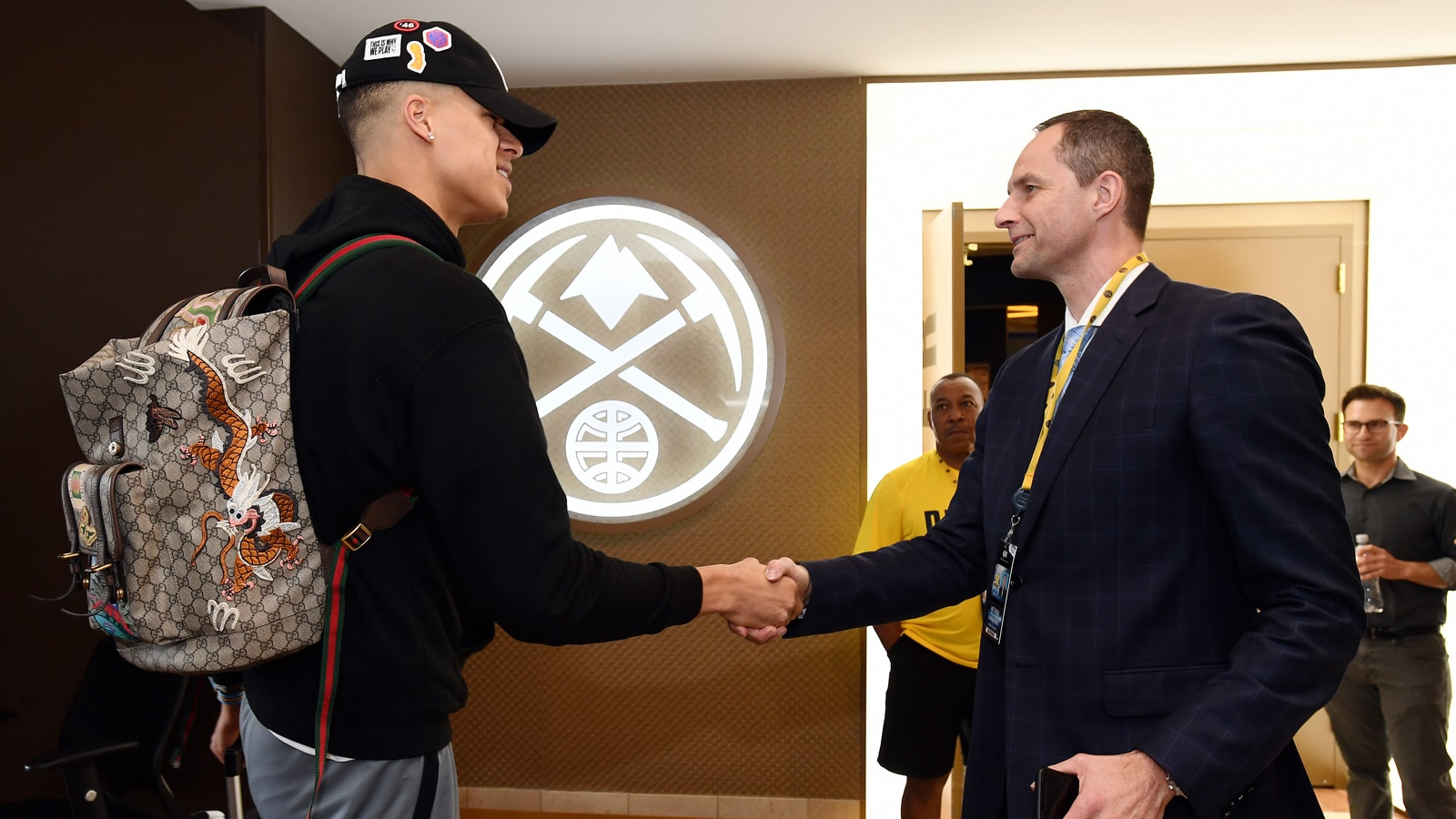 Karnisovas meeting Michael Porter Jr. after selecting him in the 2018 NBA draft.