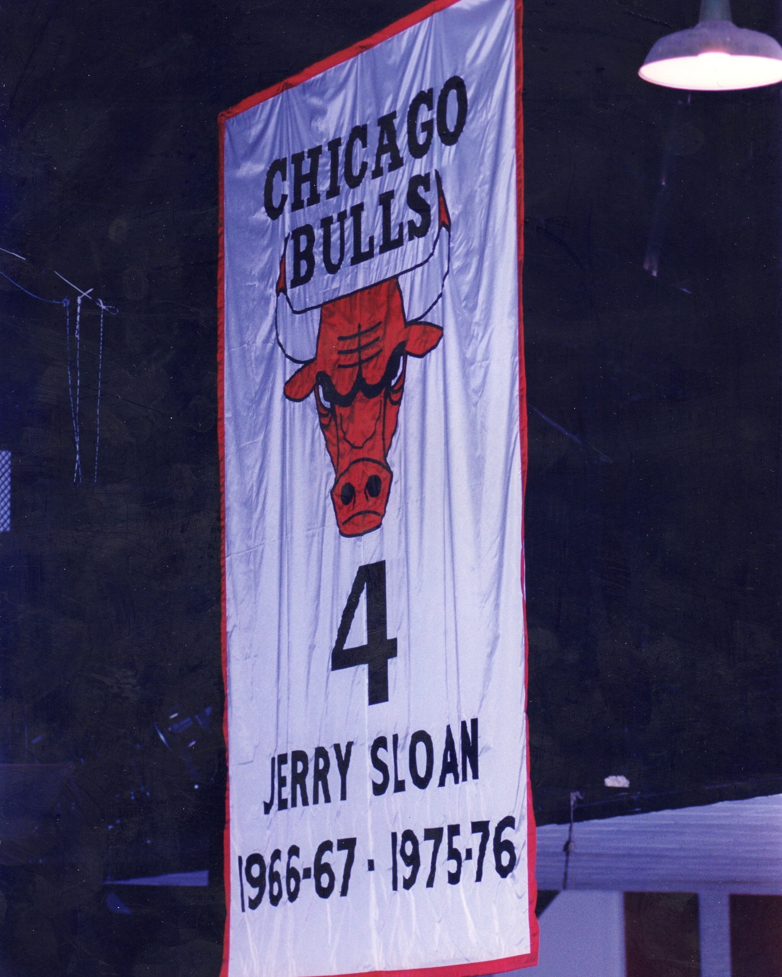 Jerry Sloan's No. 4 retired in the rafters at Chicago Stadium.