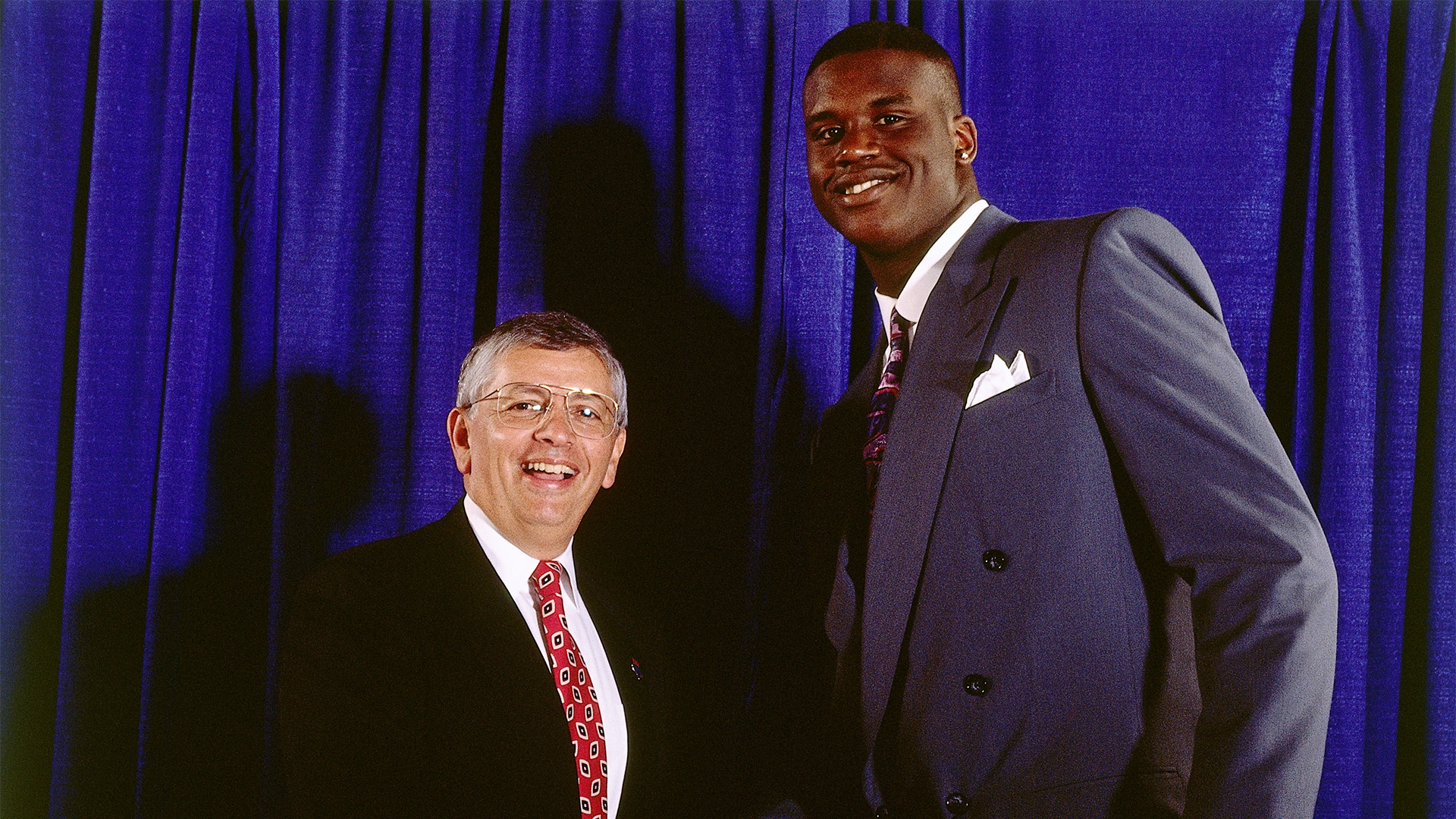 Shaq on draft night with David Stern