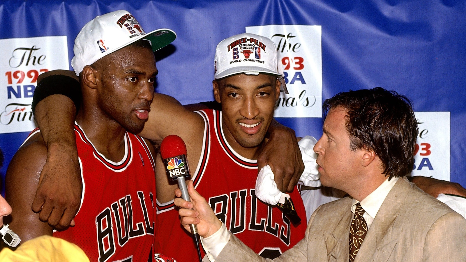 Horace Grant and Scottie Pippen being interviewed by Bob Costas following the Bulls' third championship
