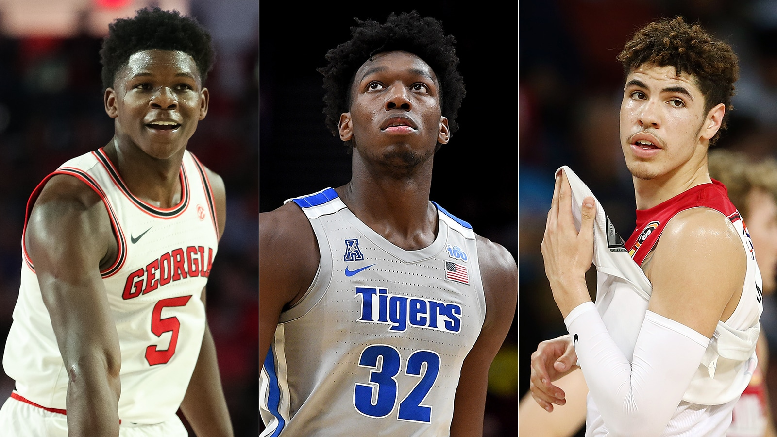 Anthony Edwards, James Wiseman, and LaMelo Ball
