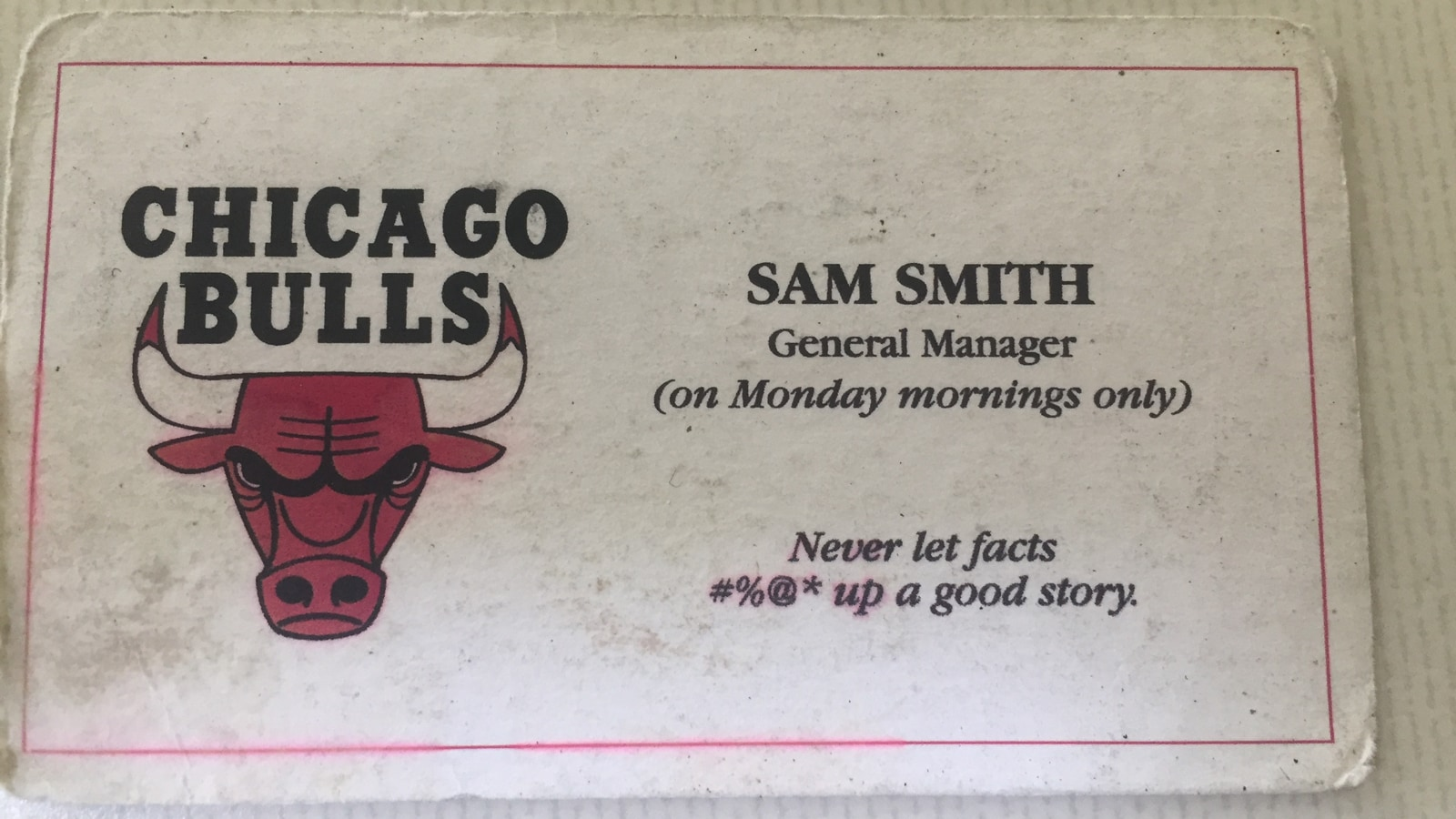 Business card given to Sam by the late Jerry Krause