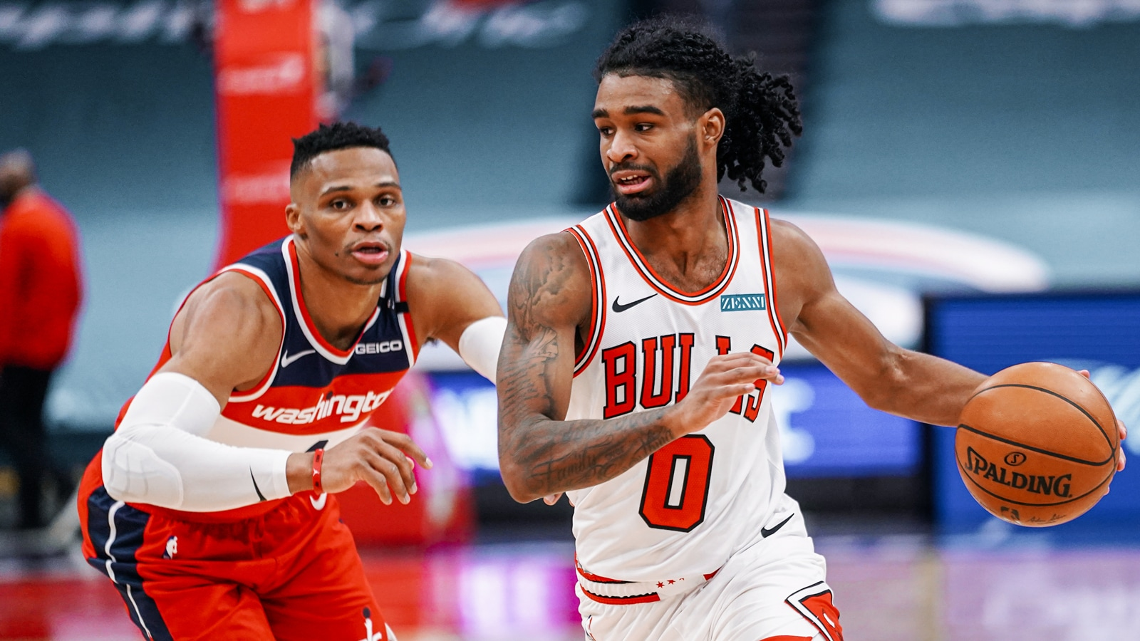 Coby White taking on Russell Westbrook