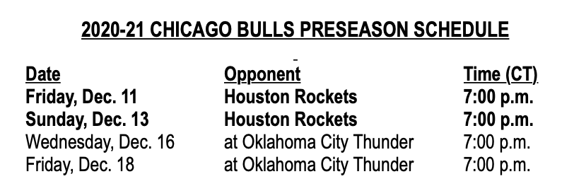 2020-21 Chicago Bulls Preseason Schedule