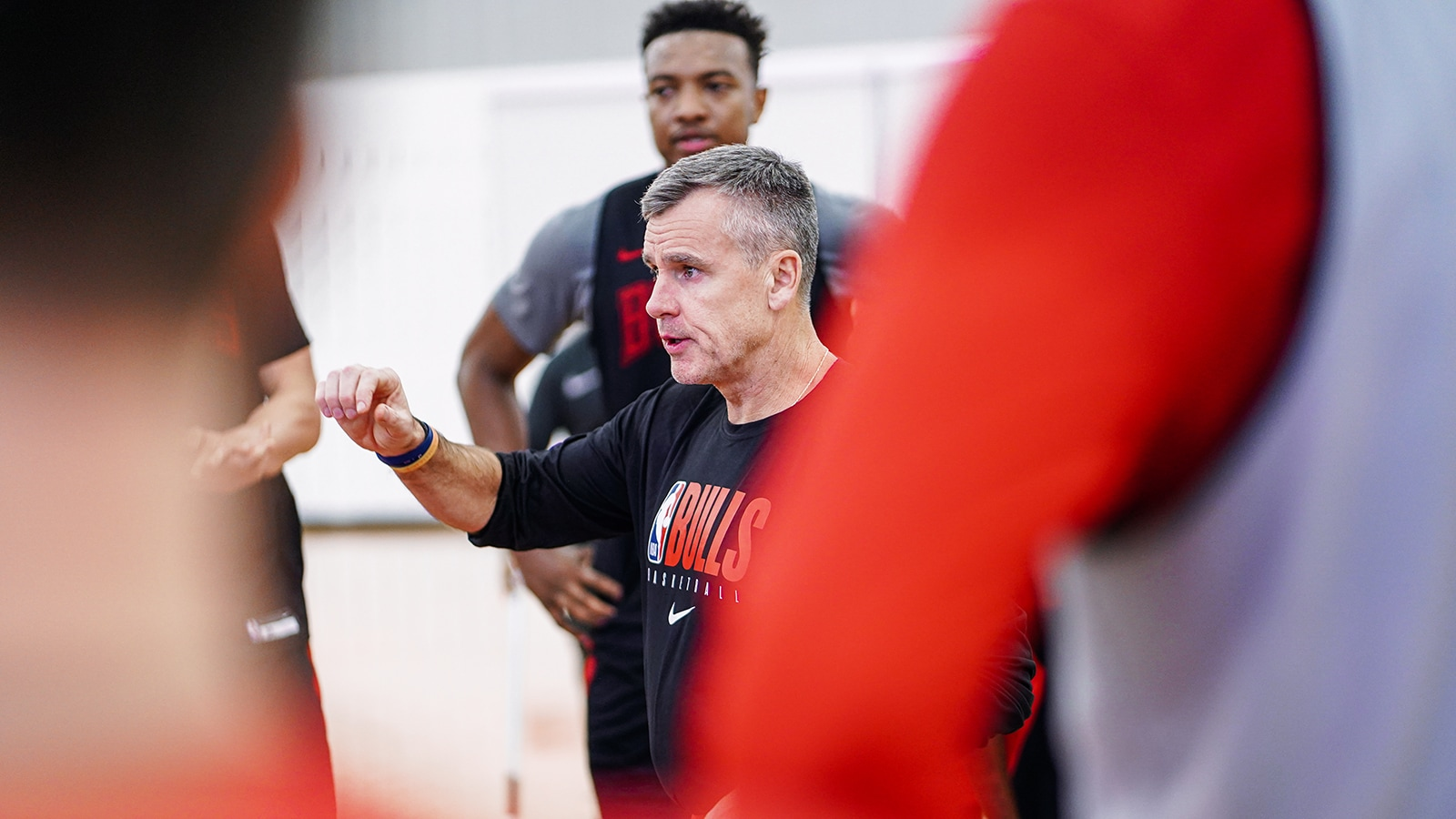 Coach Donovan talks to the Players During Bulls Training Camp