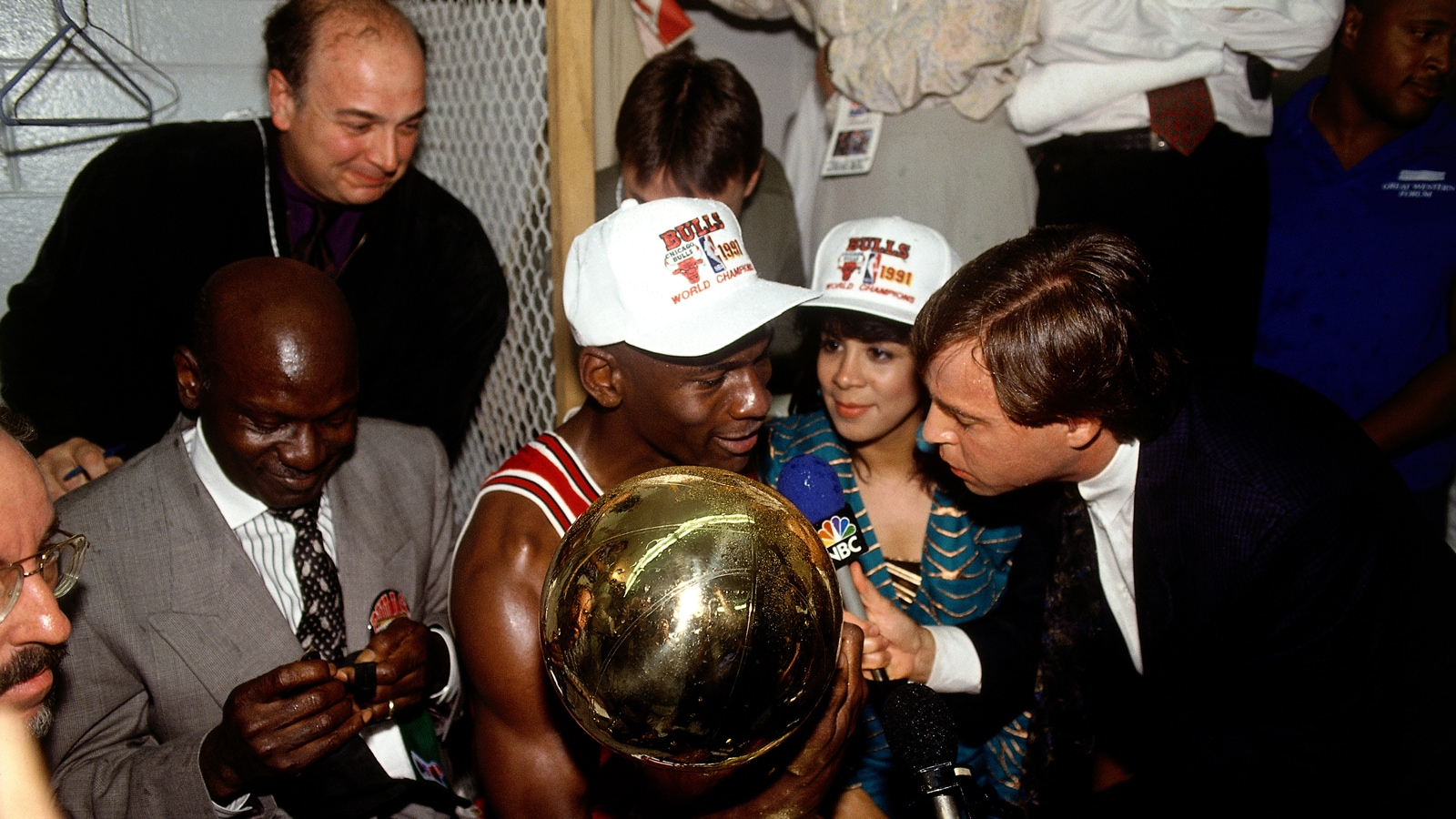 Michael Jordan is interviewed by Bob Costas after the Bulls won their first NBA title in 1991