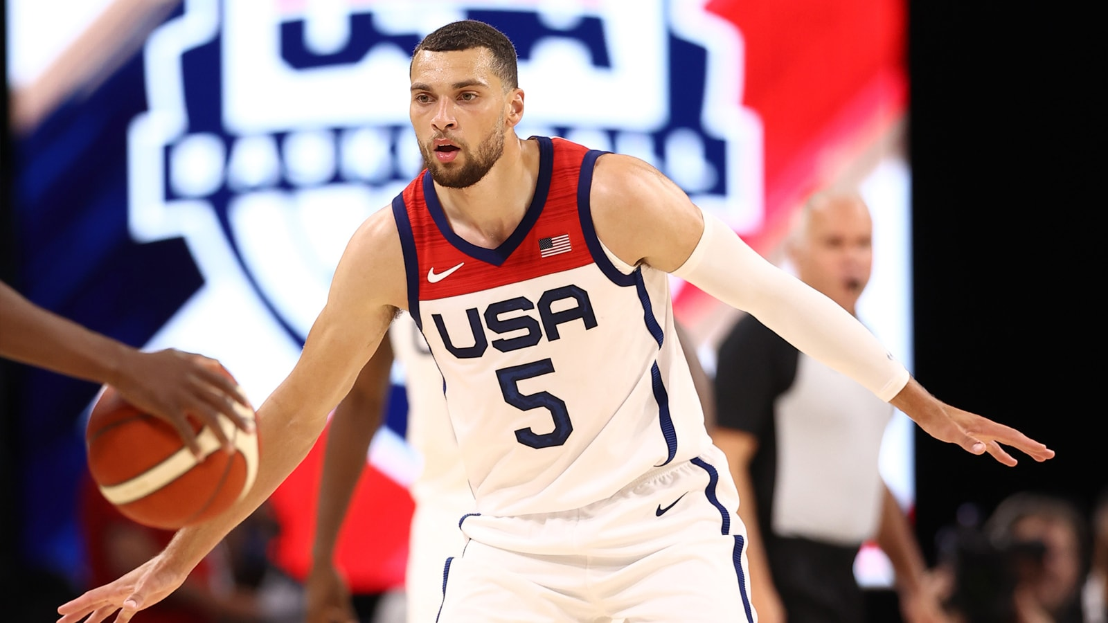 Zach LaVine playing defense for Team USA