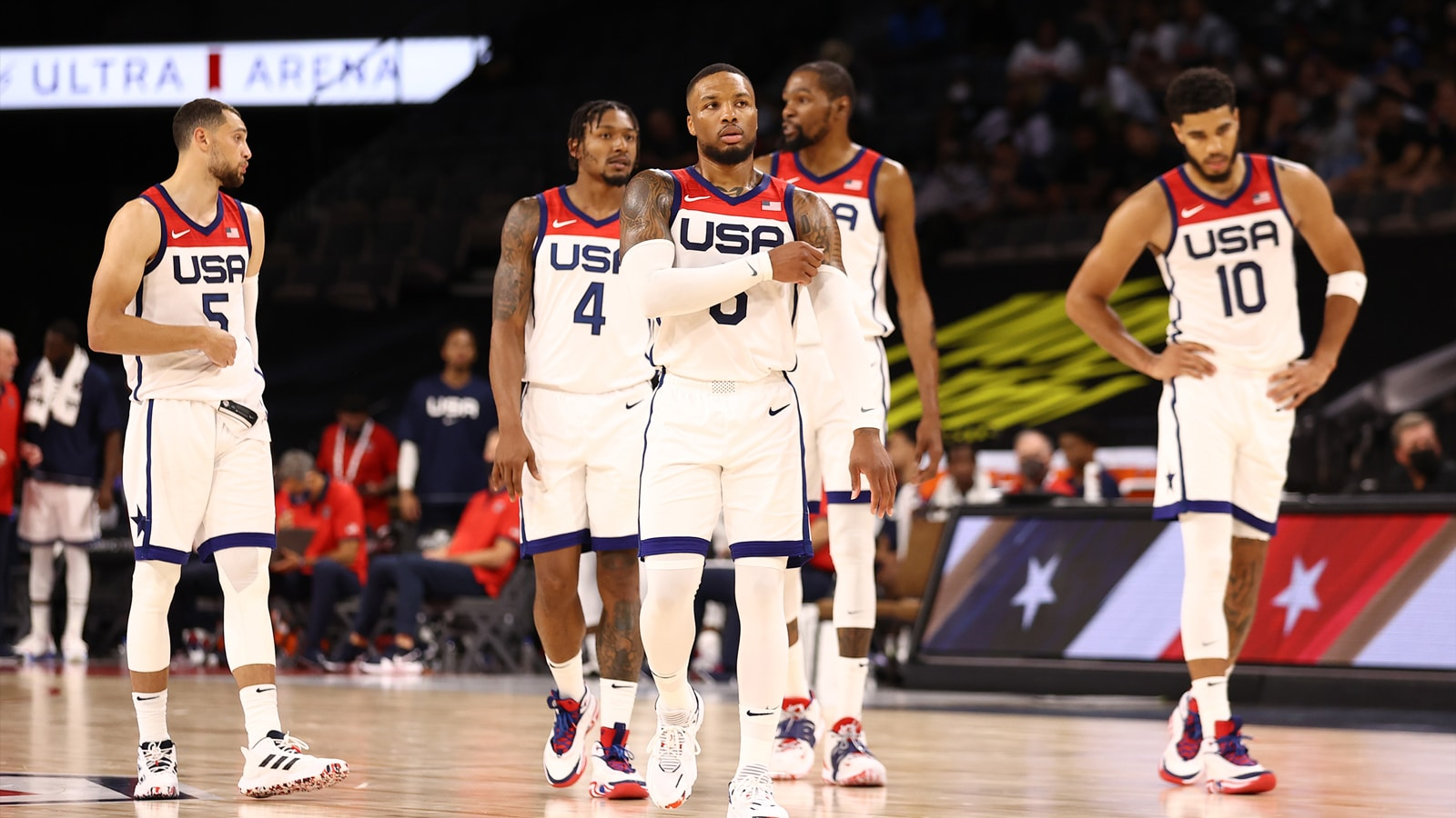Team USA walking on the court
