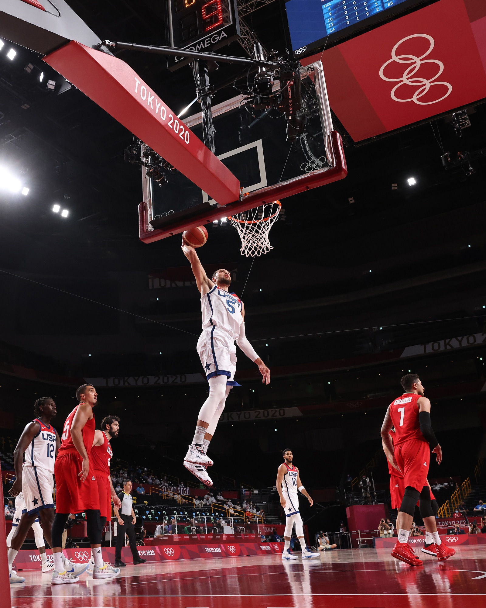 Zach LaVine elevates for a dunk as Team USA dominates Iran in Olympic pool play.