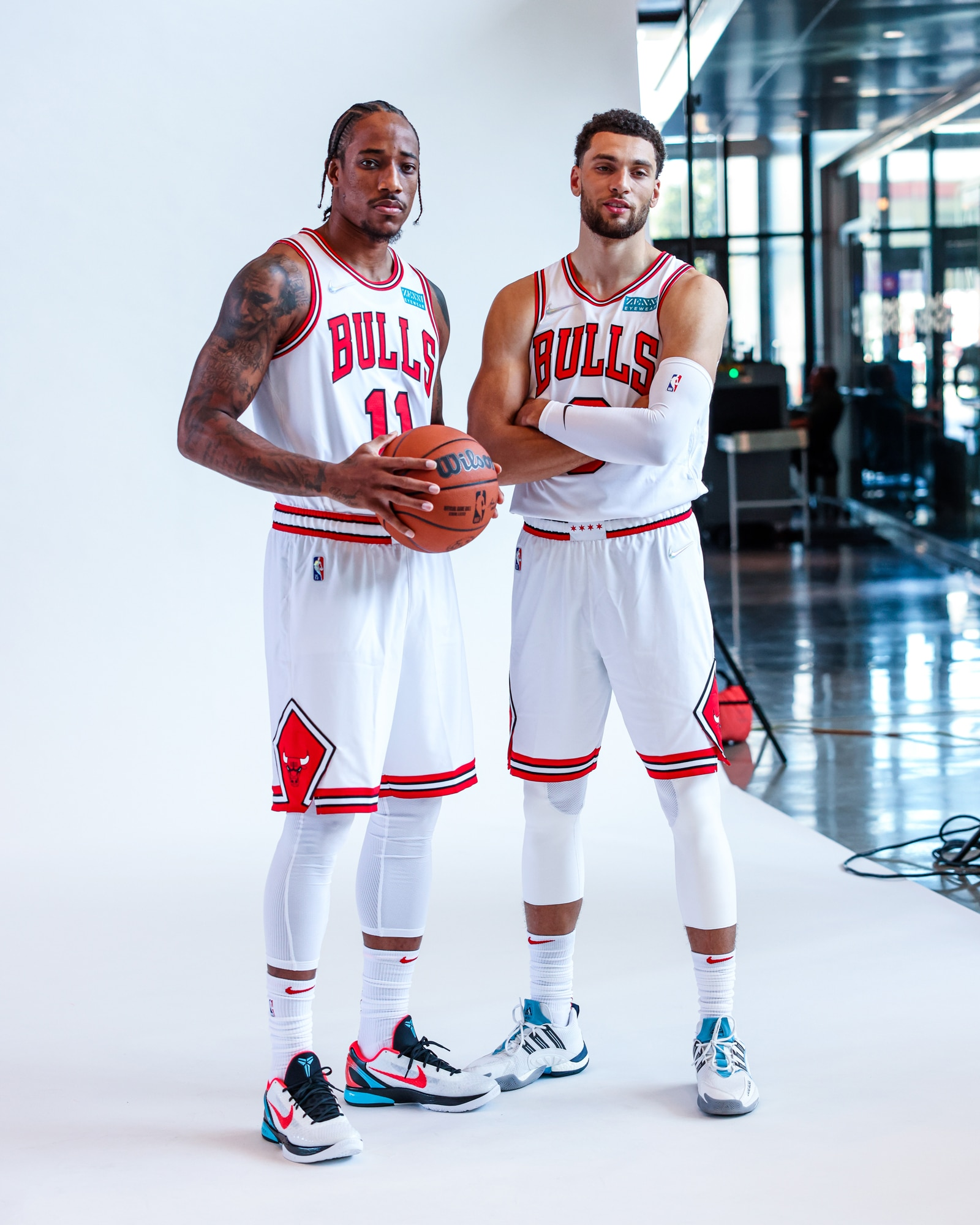 DeMar DeRozan and Zach LaVine pose during a Media Day