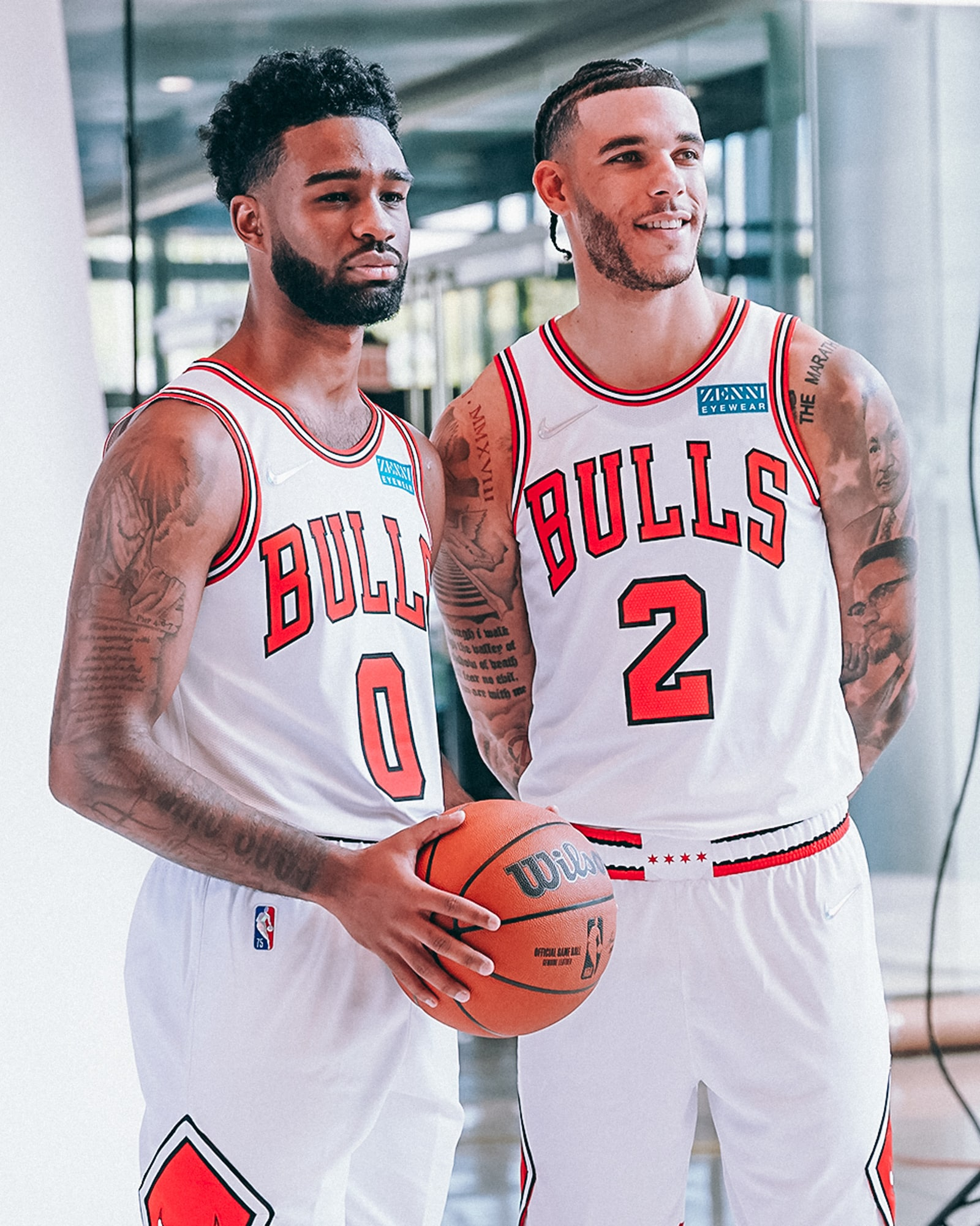 Coby White and Lonzo Ball pose during a Bulls Media Day photoshoot