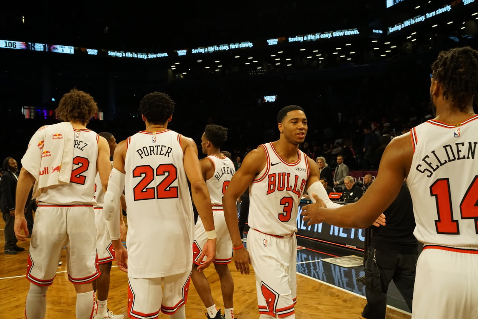 Team High Fives from the Bulls as they beat the Nets