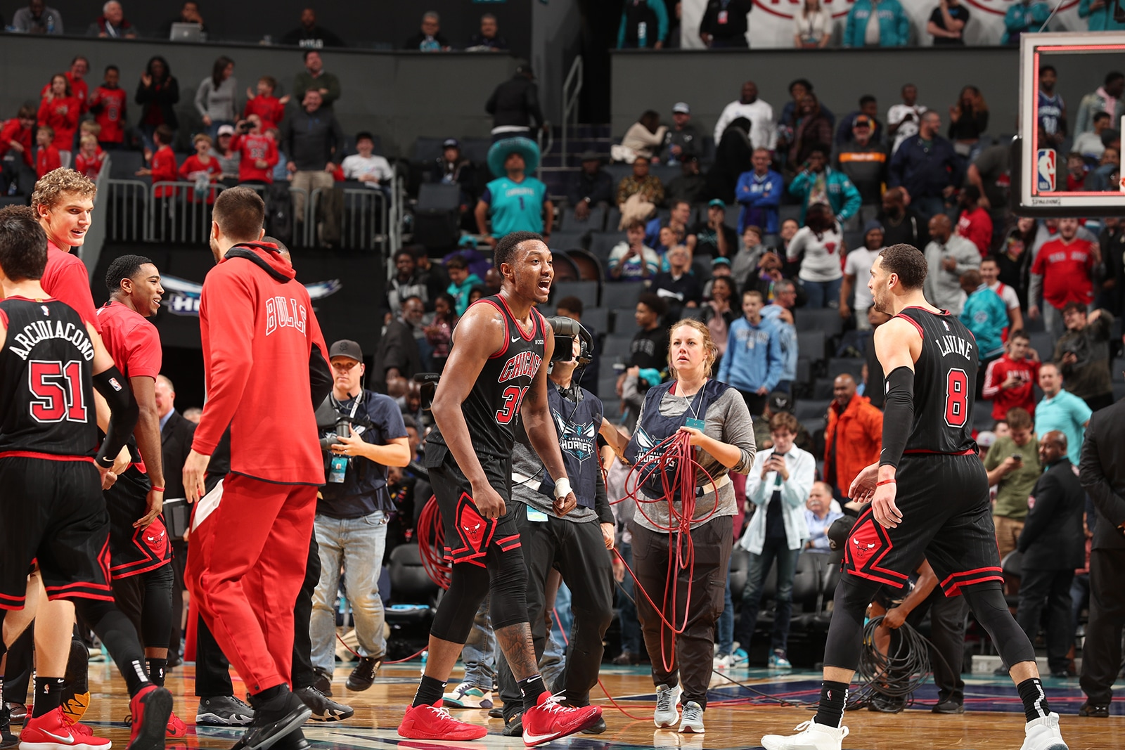 The Bulls celebrate an unlikely win in Charlotte