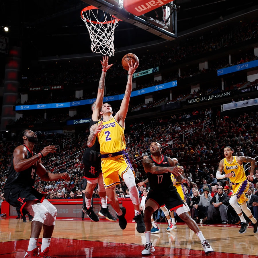 Lonzo Ball #2 of the Los Angeles Lakers shoots the ball against the Houston Rockets on January 19, 2019 at the Toyota Center in Houston, Texas.