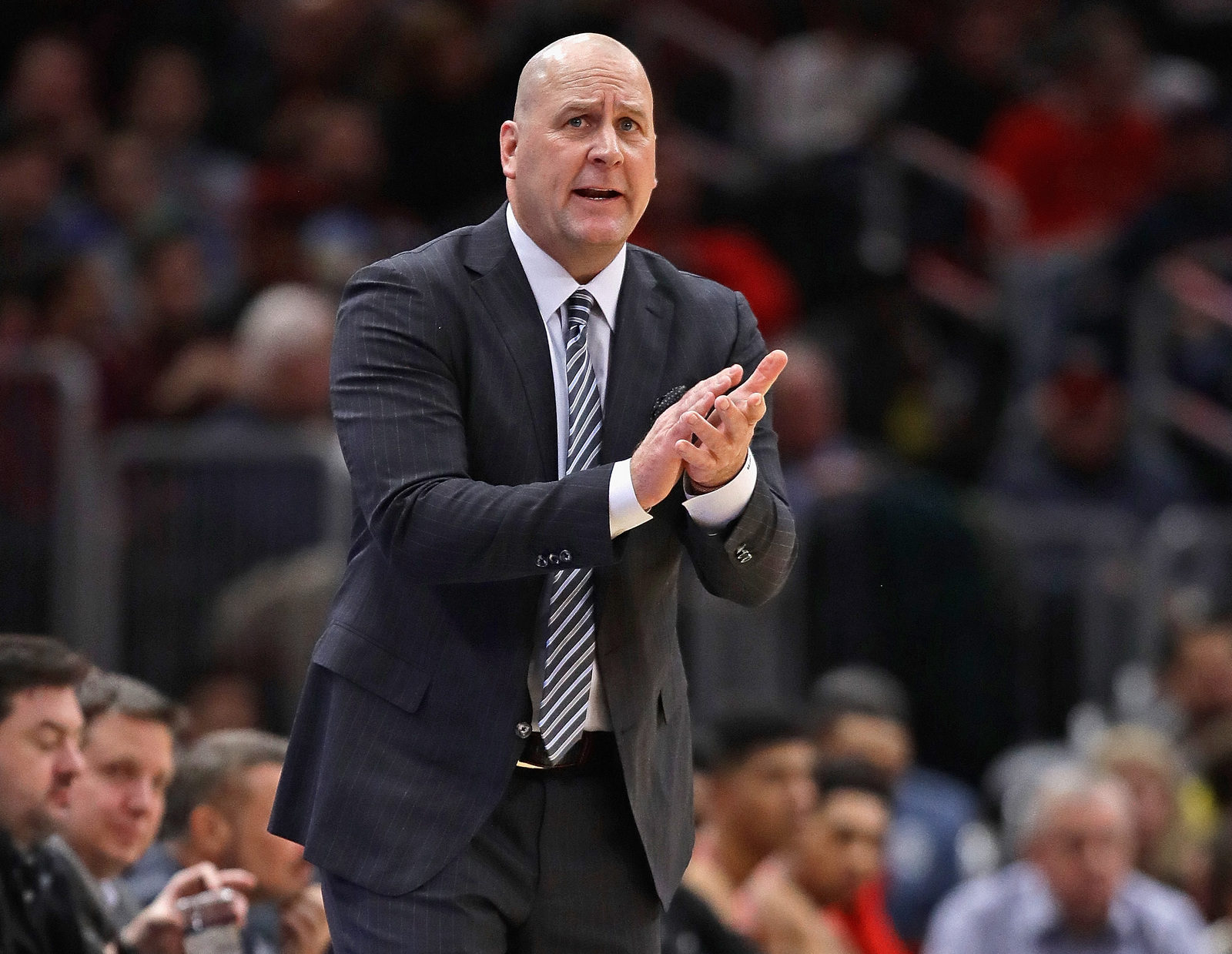Head coach Jim Boylen of the Chicago Bulls encourages his team against the Boston Celtics at United Center on December 08, 2018 in Chicago, Illinois.
