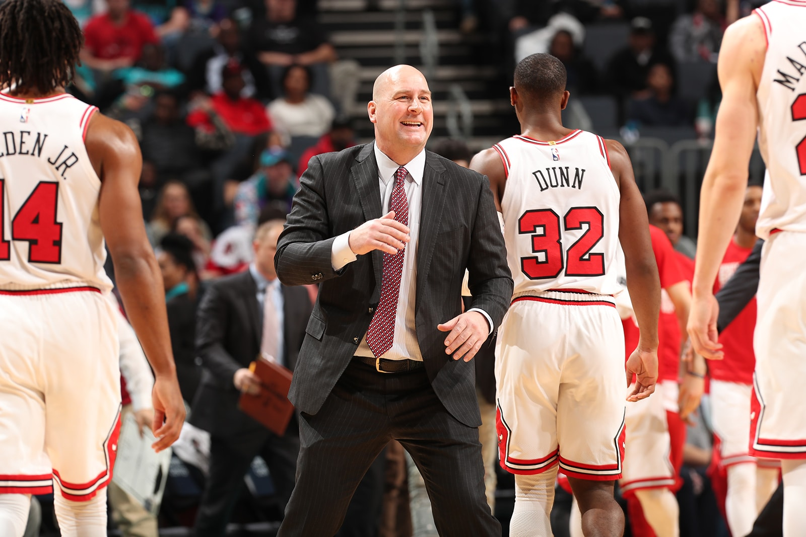 Jim Boylen Greets the Chicago Bulls Players as they come off the court