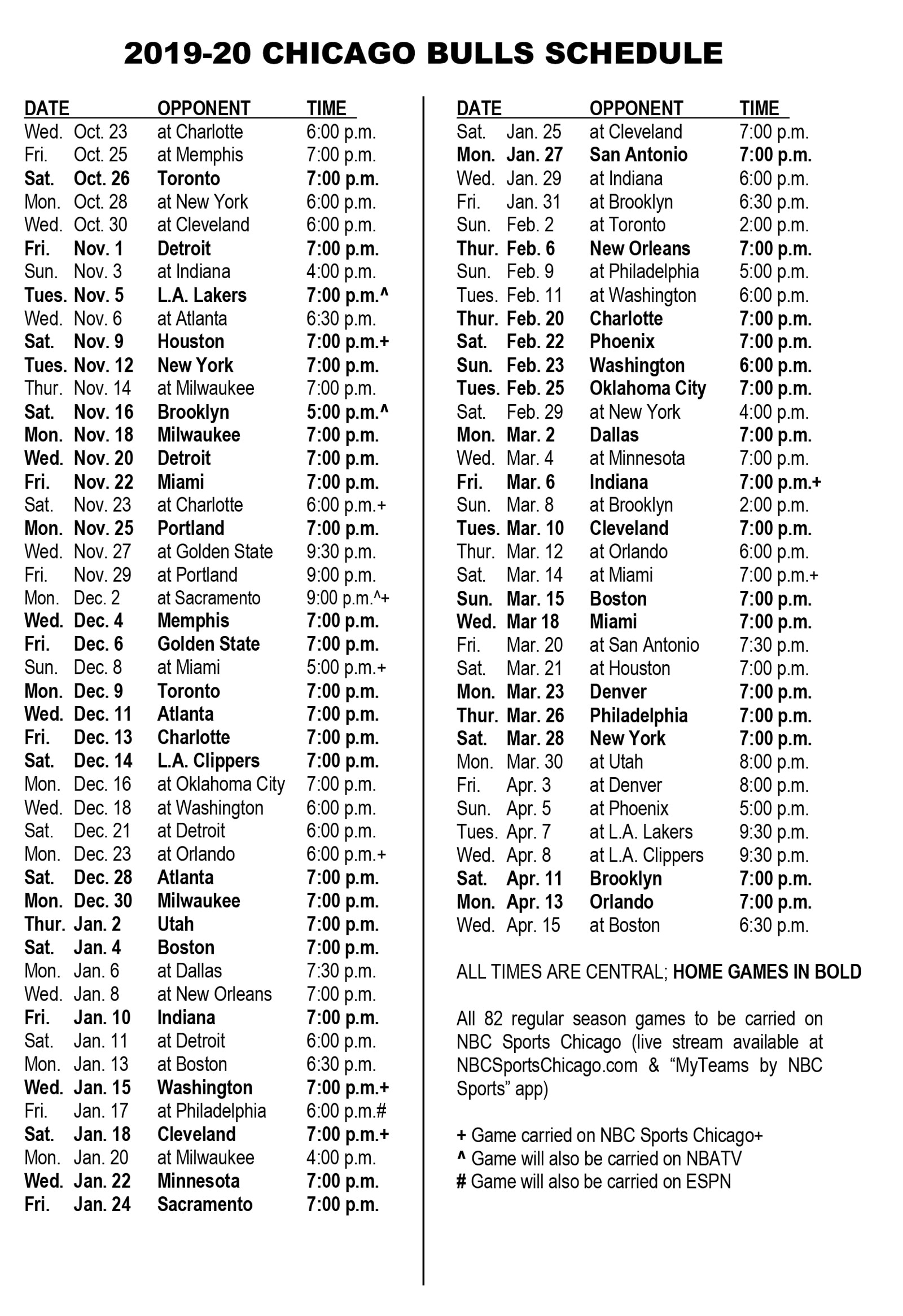 Chicago Bulls Schedule 2019-20 NBA Season