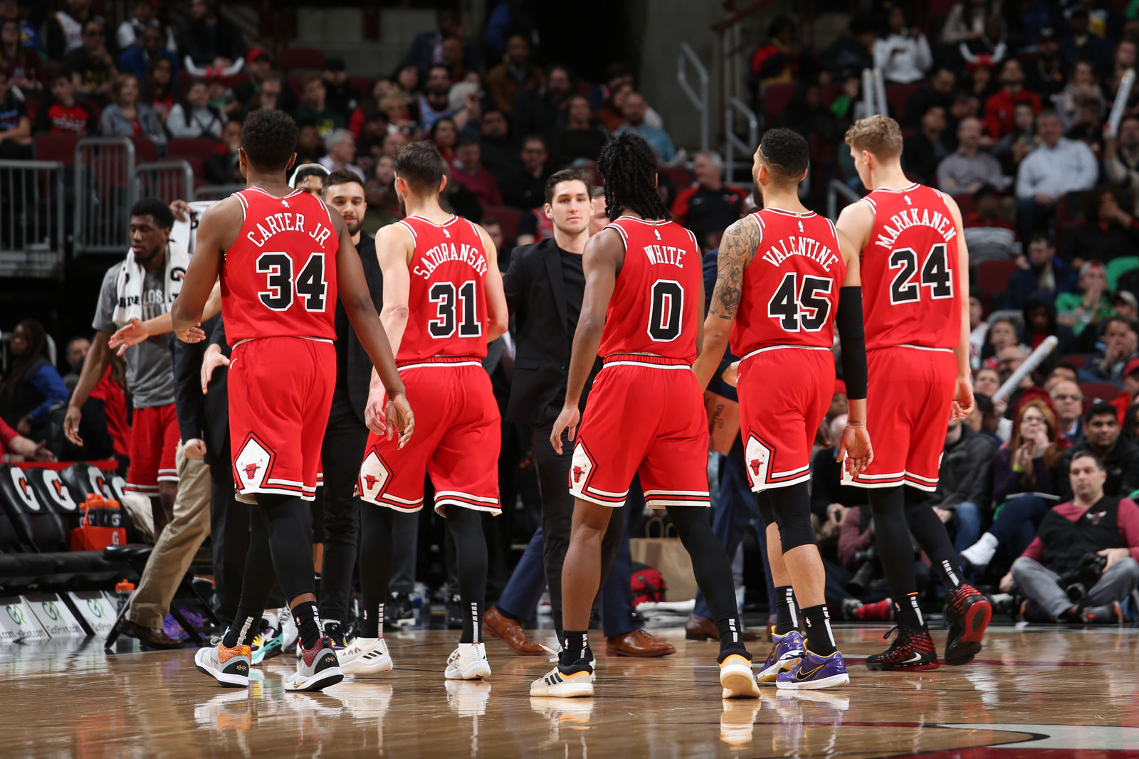 The Chicago Bulls huddle up prior to a game against the Cleveland Cavaliers on March 10, 2020 at the United Center in Chicago, Illinois.